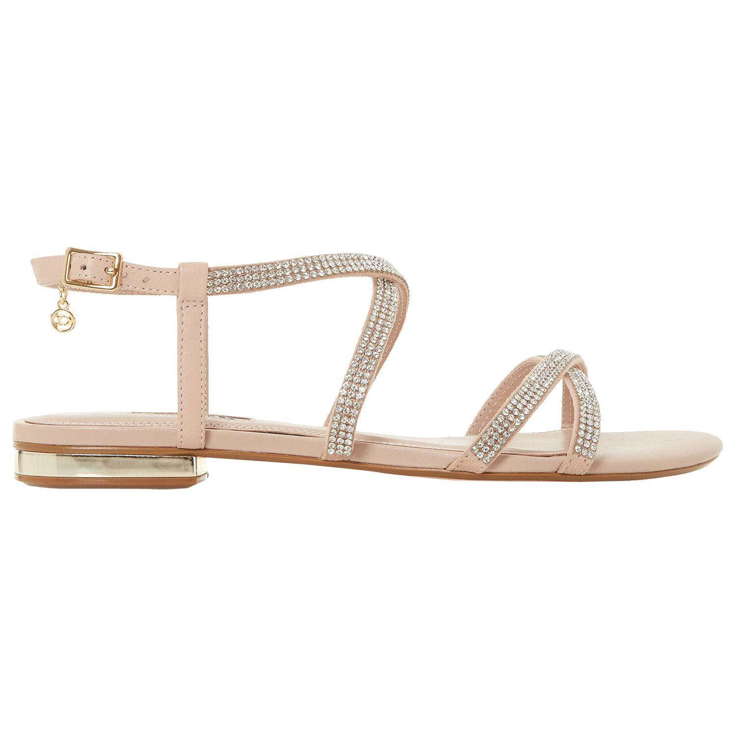 abe1662f8060a Dune Neve Cross Strap Embellished Sandals in Natural - Lyst