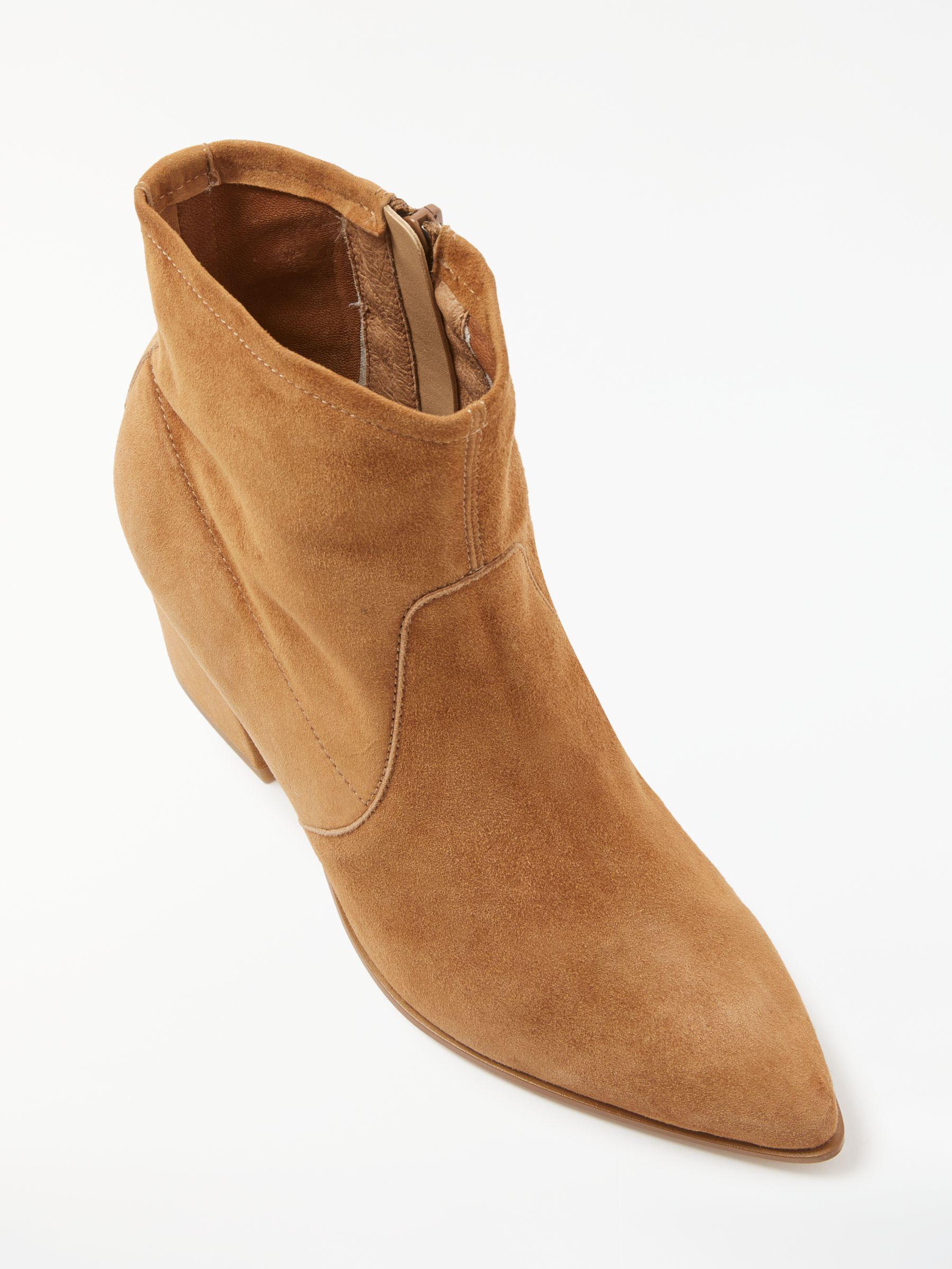 Modern Rarity Suede Orsino Block Heeled Boots in Tan (Brown)