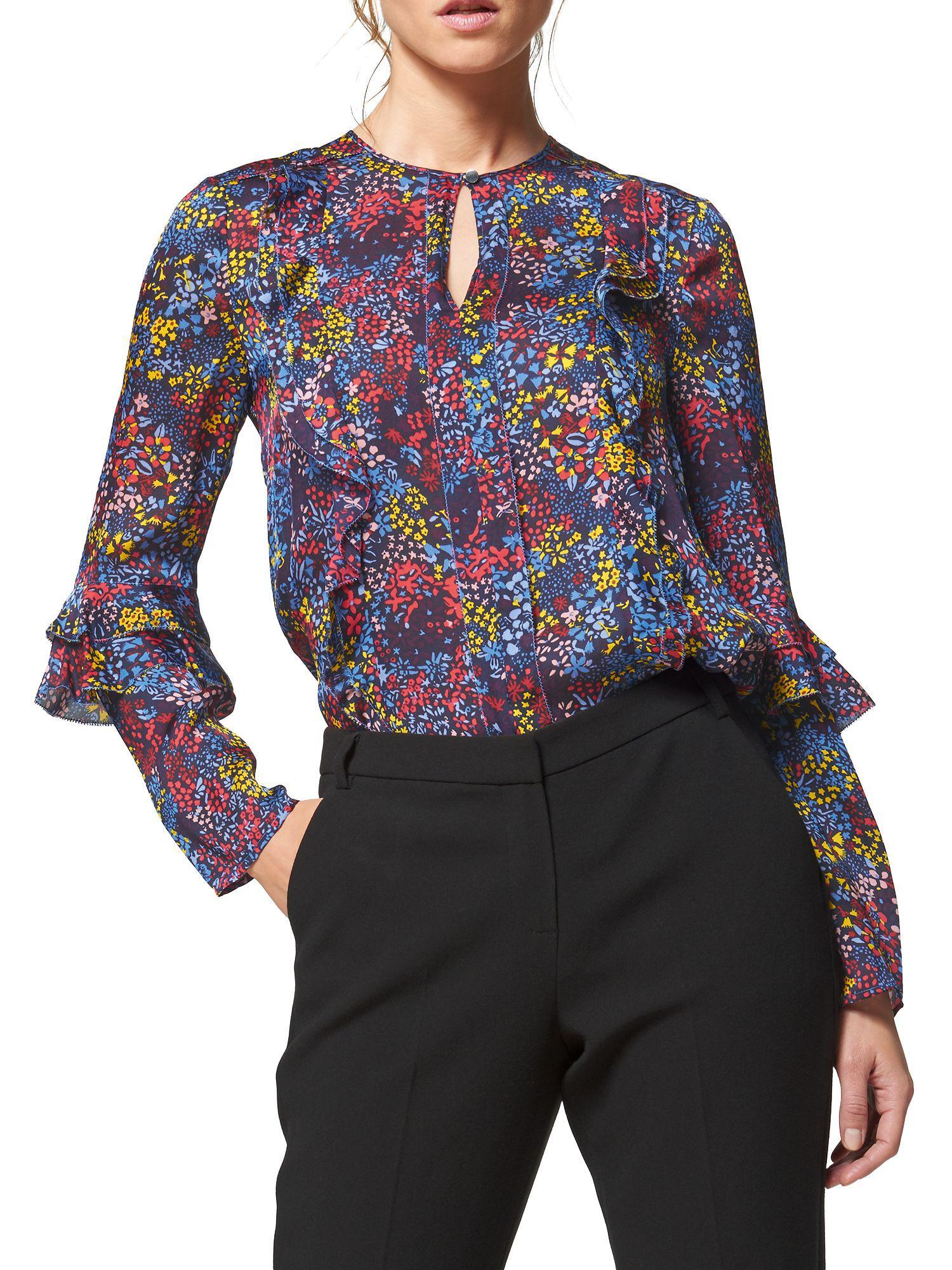 af774ad85de38 L.K.Bennett Robin Floral Silk Blouse in Blue - Lyst