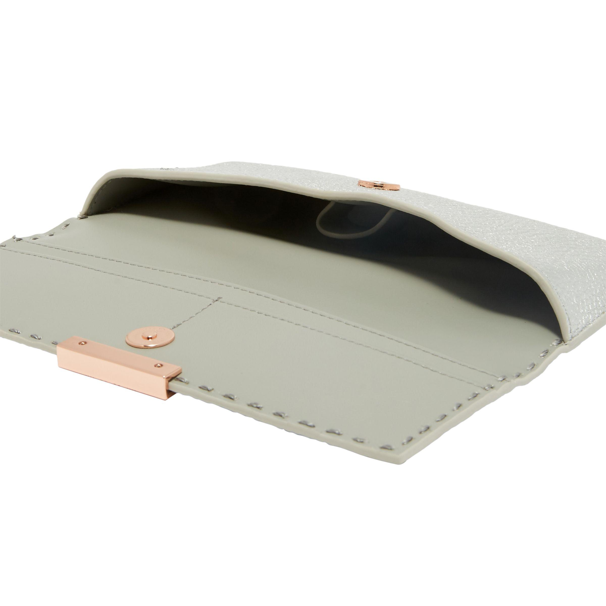 Ted Baker Iiona Leather Sunglasses Case in Silver (Metallic)