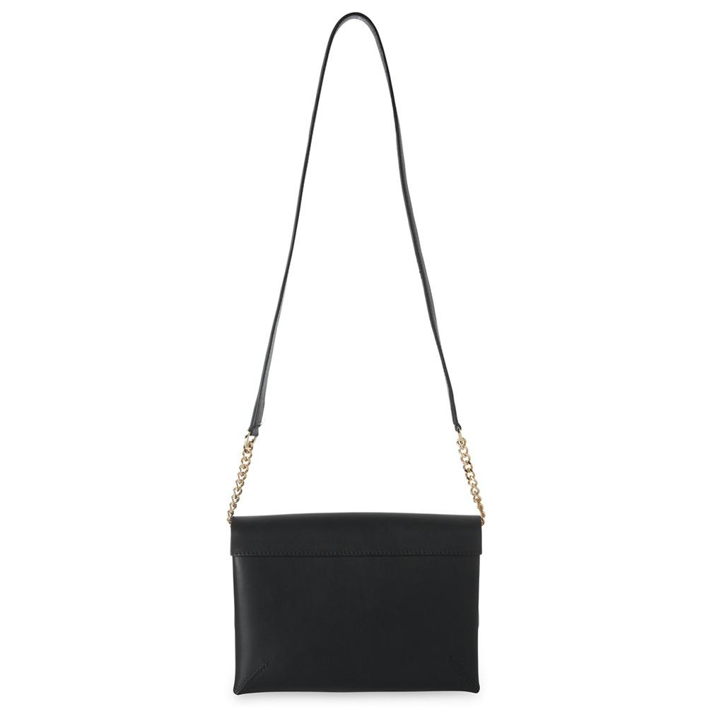 Whistles Leather Henley Double Crossbody Bag in Black