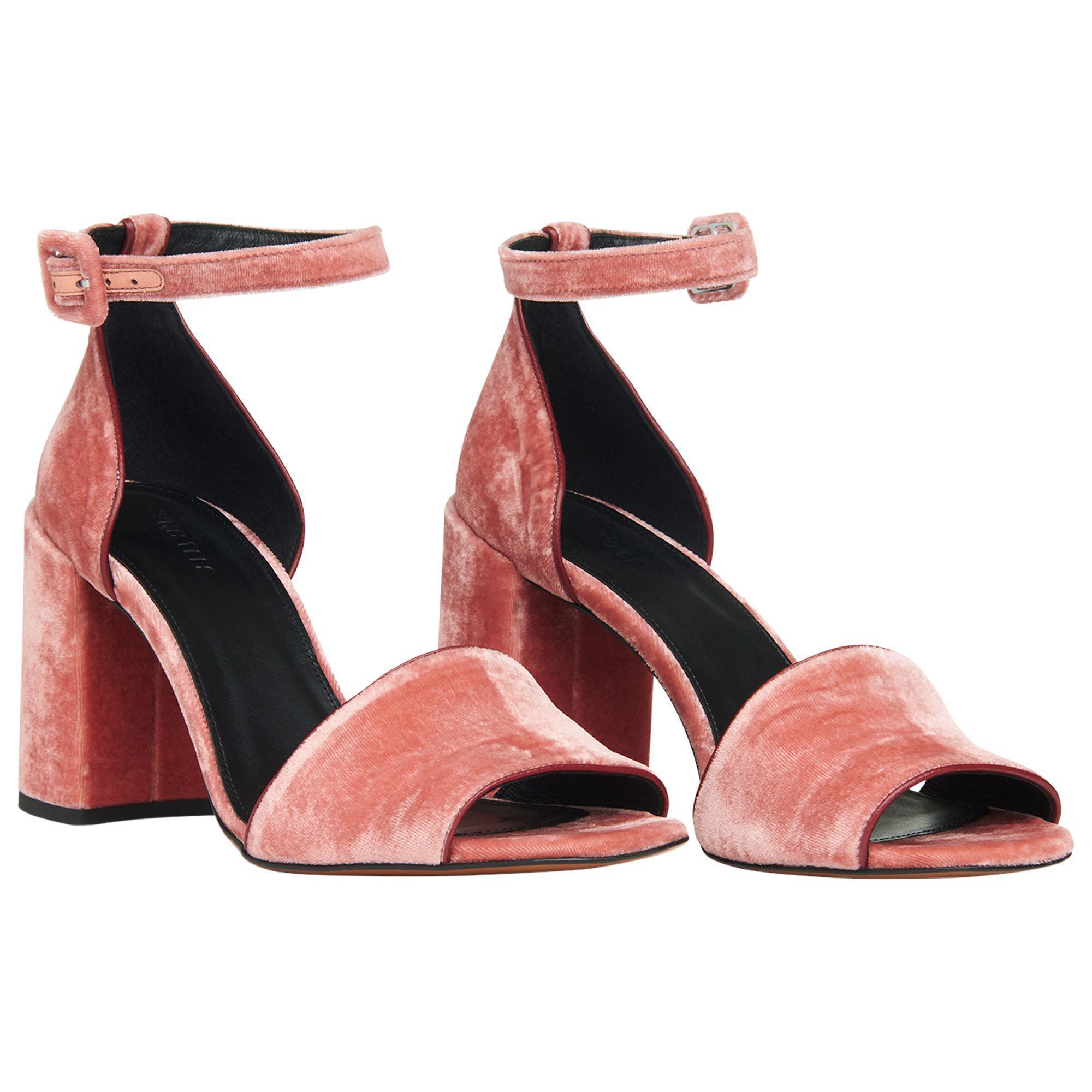1f2fb4ae0e0 Whistles - Pink Hedda Velvet Block Heeled Sandals - Lyst. View fullscreen