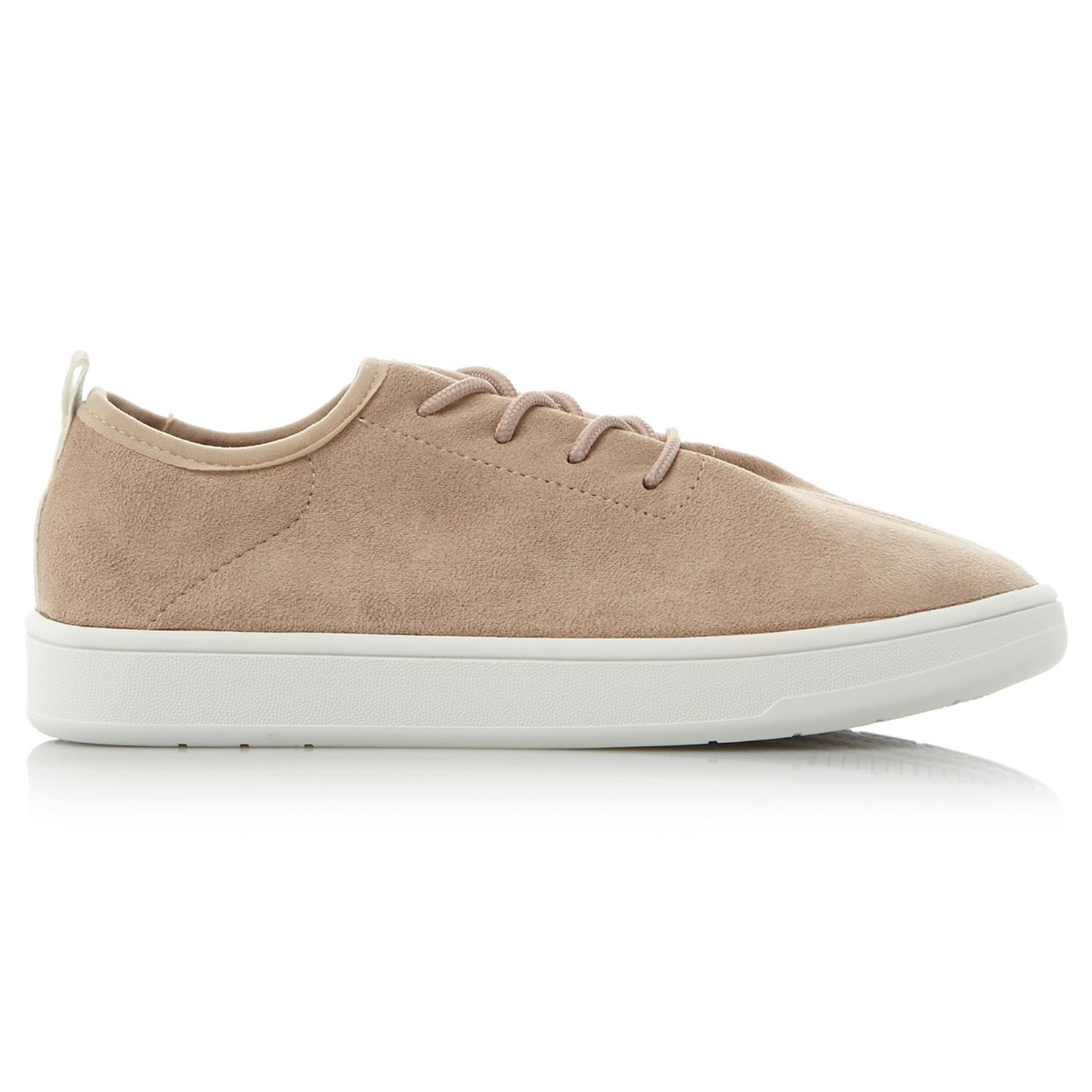 Steve Madden Denim Elexa Lace Up Trainers in Nude (Natural)