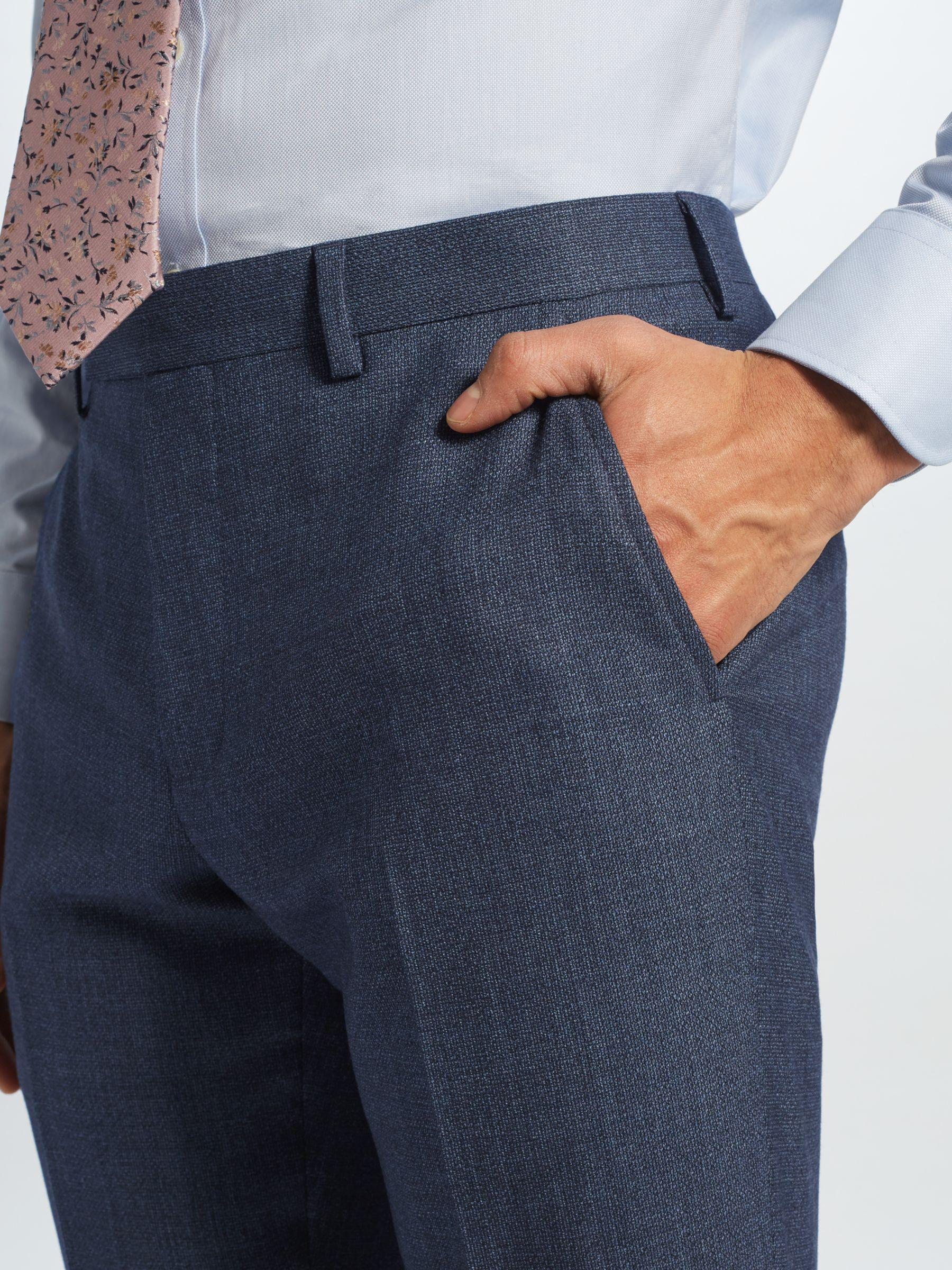 John Lewis Wool Semi Plain Tailored Suit Trousers in Blue for Men