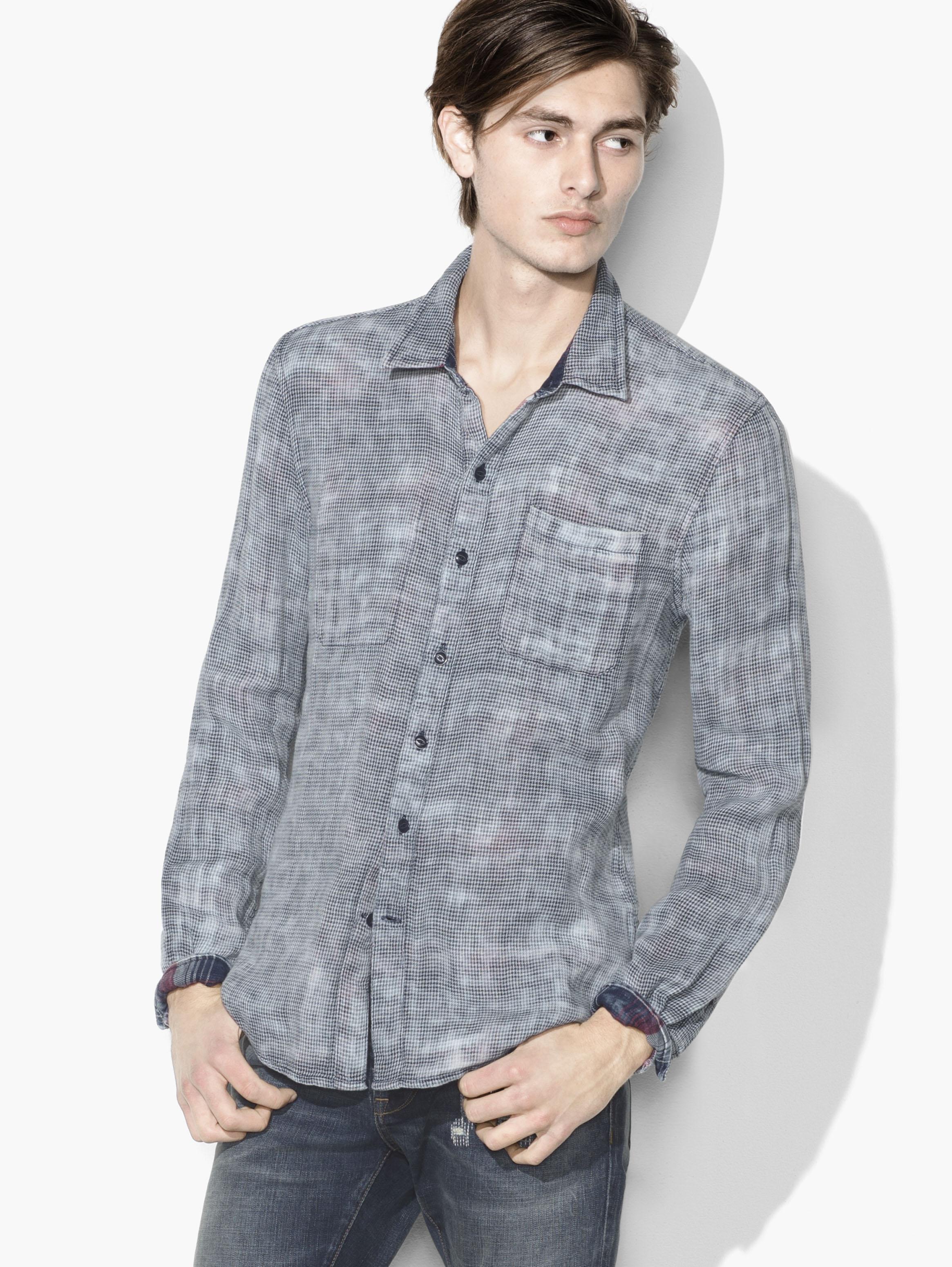 John Varvatos Cotton Reversible Plaid Shirt in Indigo (Blue) for Men
