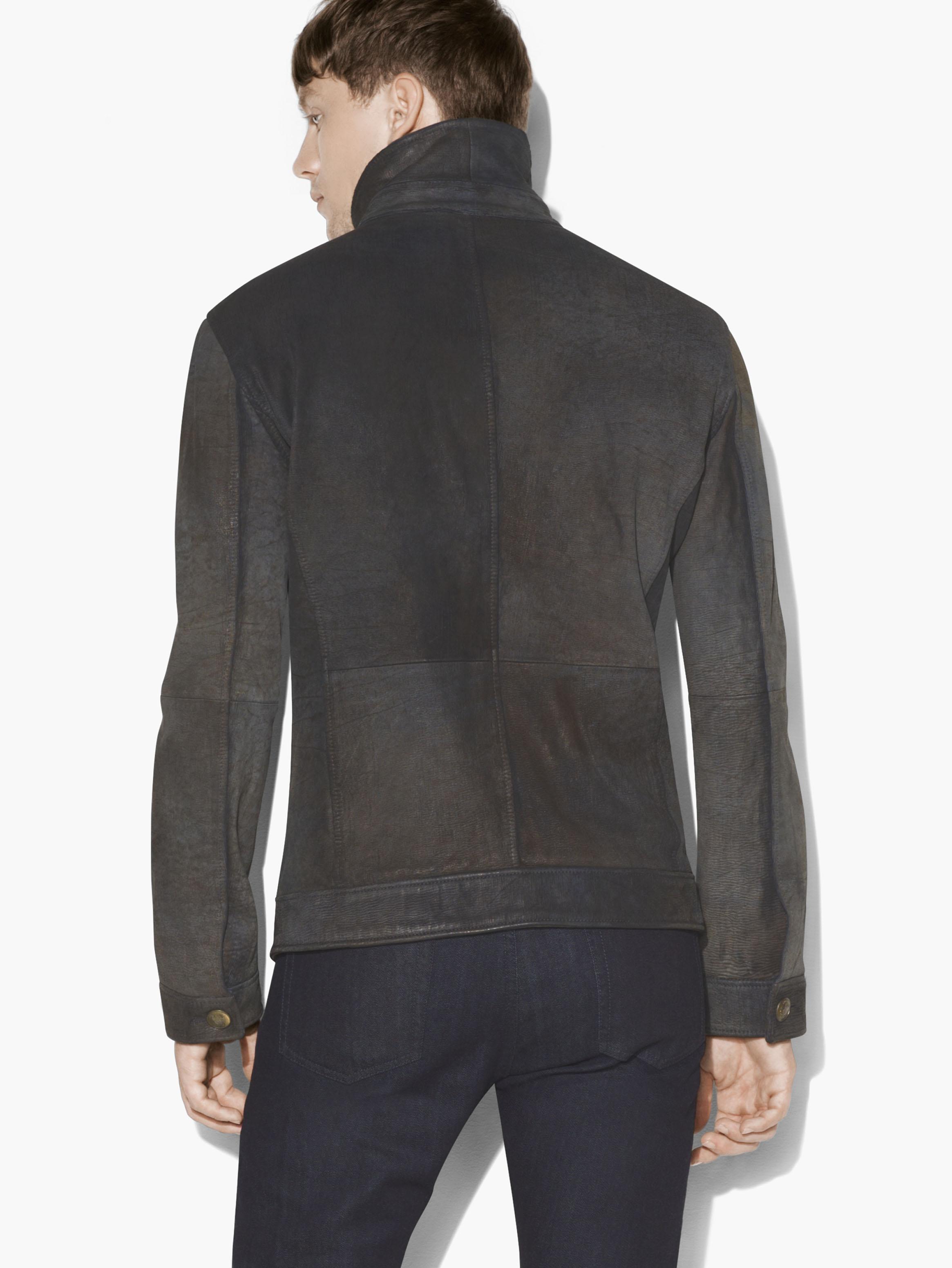 John Varvatos Button Front Leather Jacket for Men