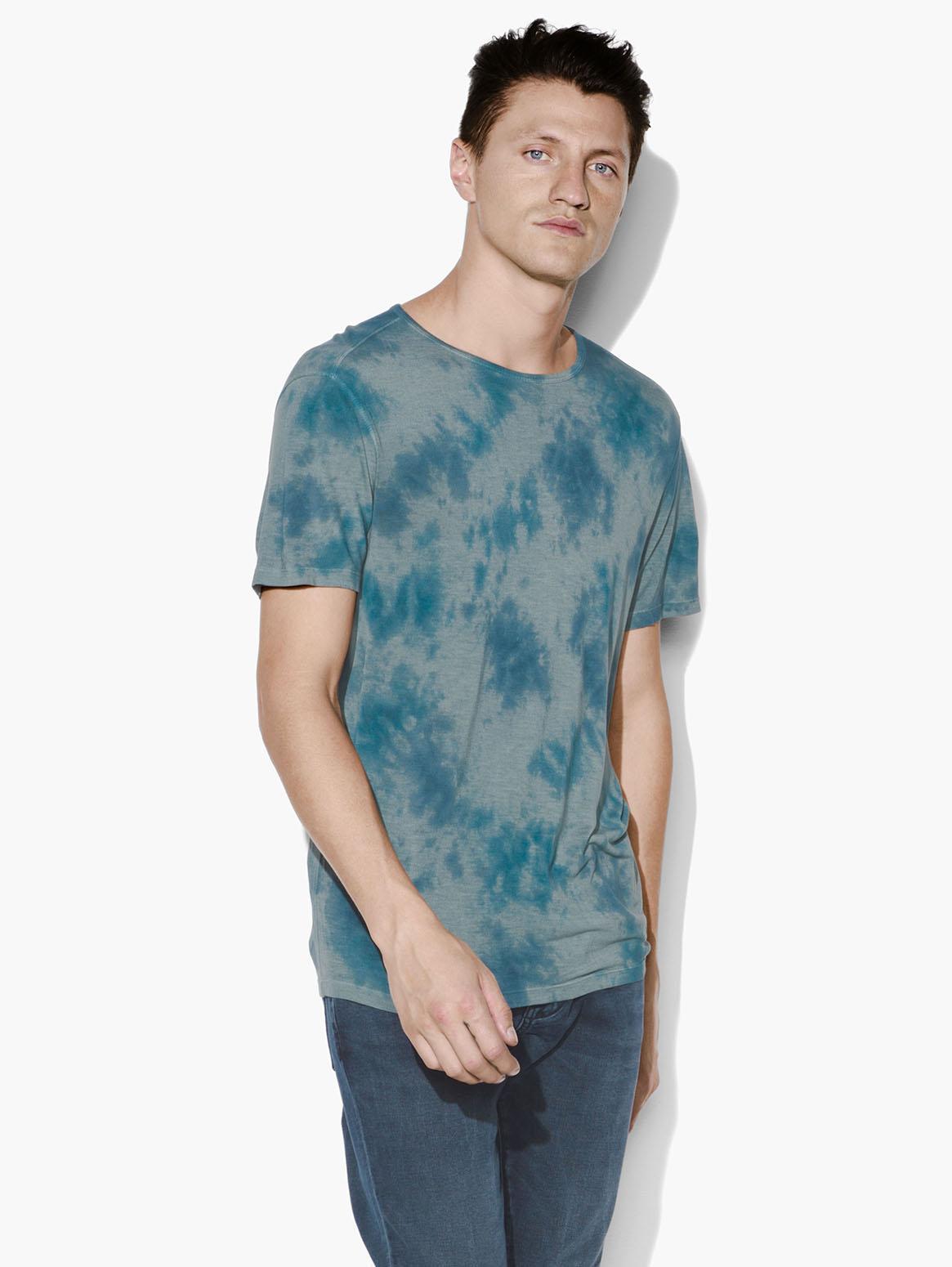 John Varvatos Men/'s Revolution Tie Dye Raw Edge Graphic Crew T-Shirt Blue Black