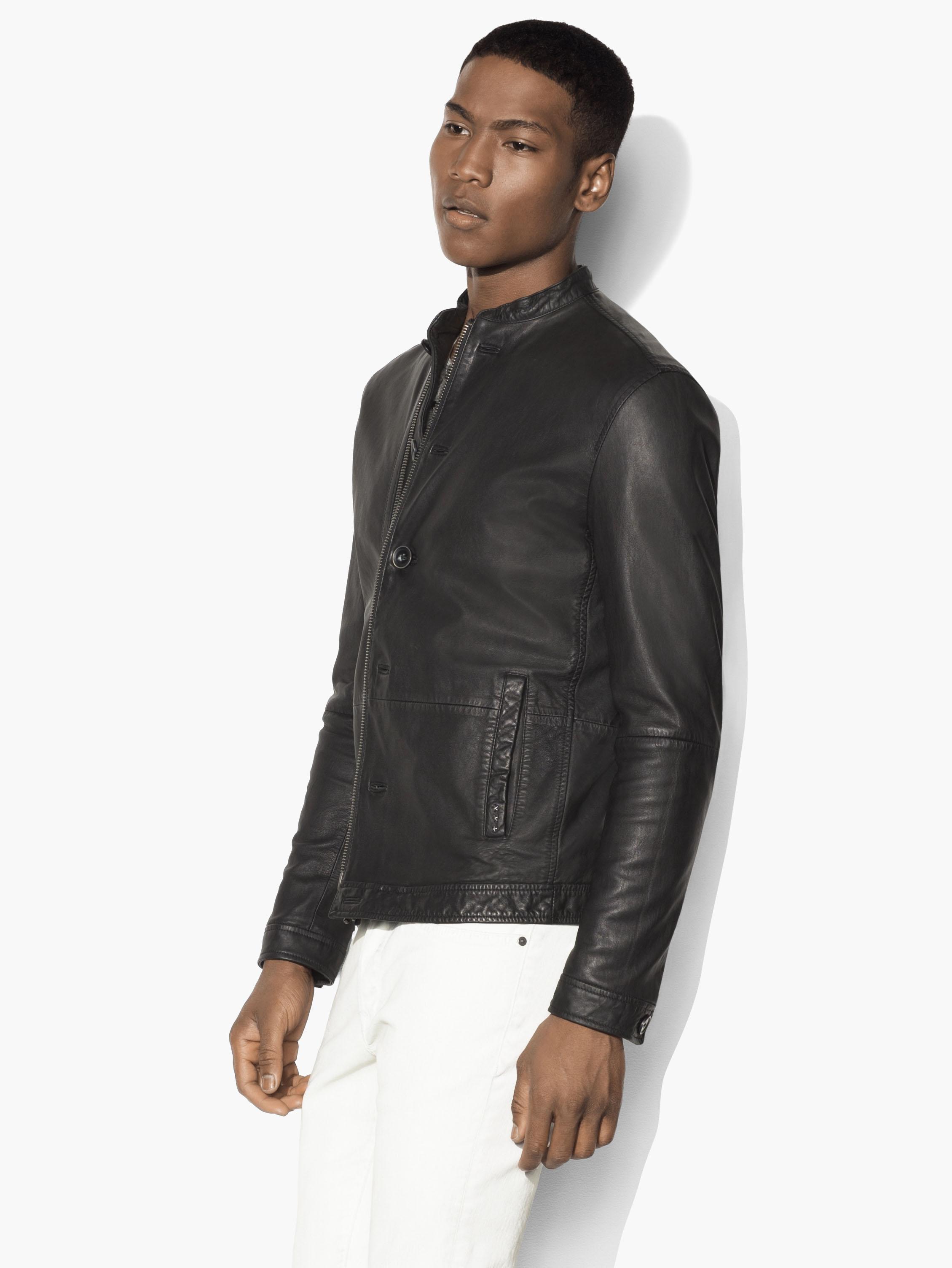 John Varvatos Black Leather Racer Jacket for Men