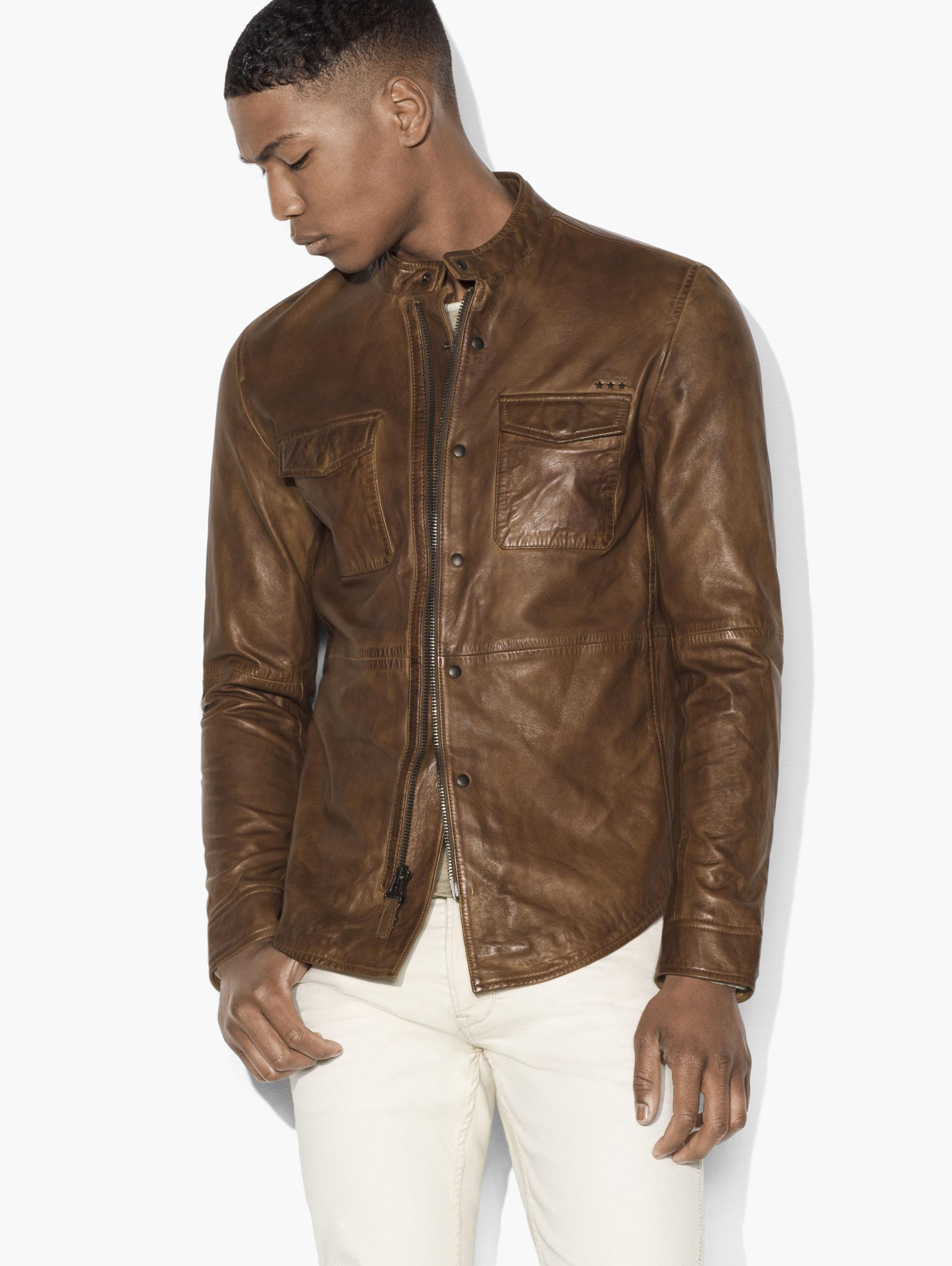 John varvatos burnished leather shirt jacket in brown for for Leather jacket and shirt