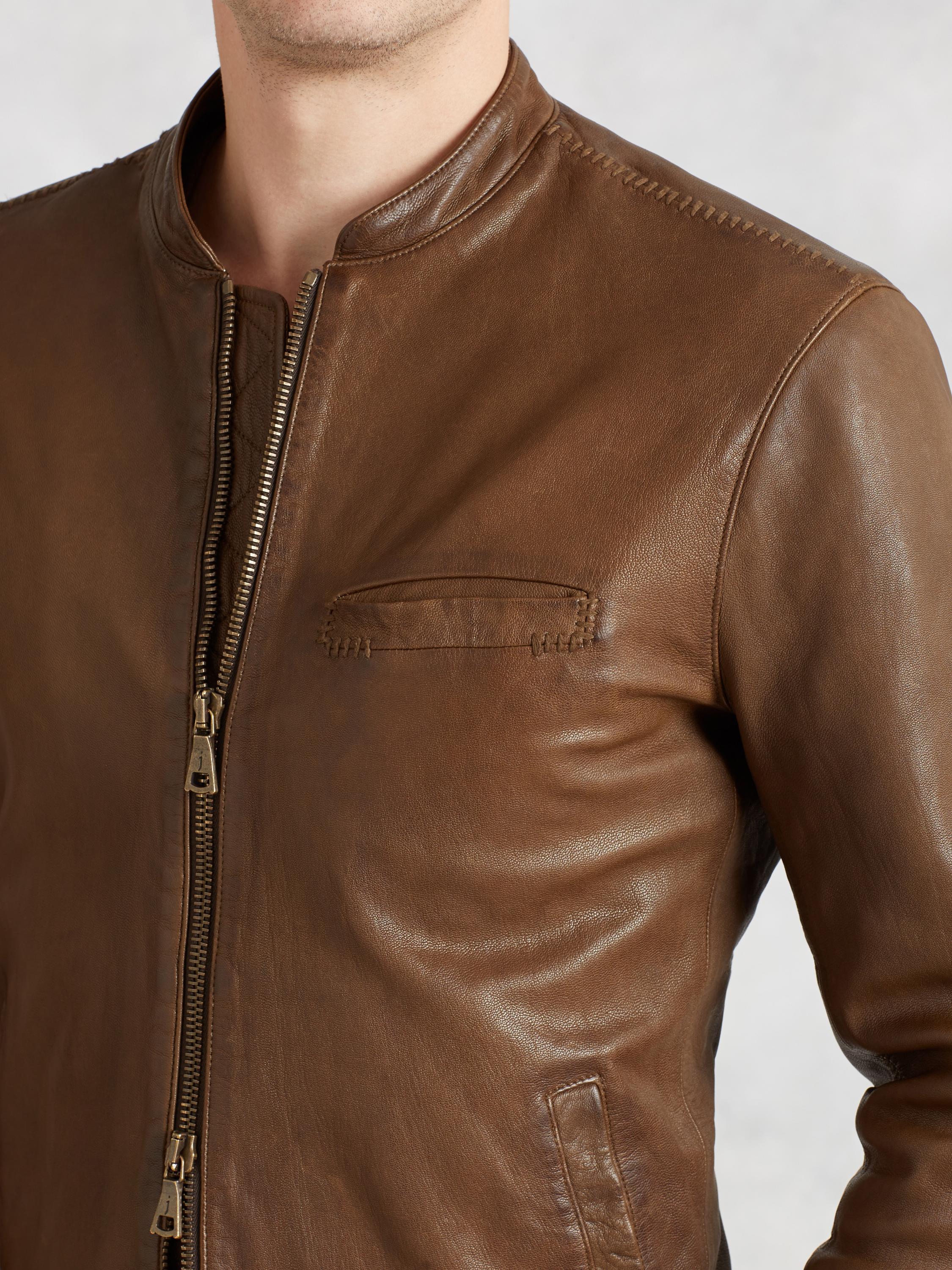 John varvatos Repair Stitch Leather Jacket in Brown for ...