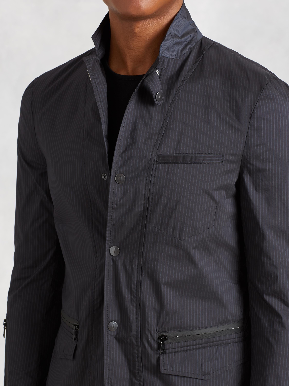 John Varvatos Synthetic Convertible Lapel Nylon Jacket in lt Blue (Black) for Men