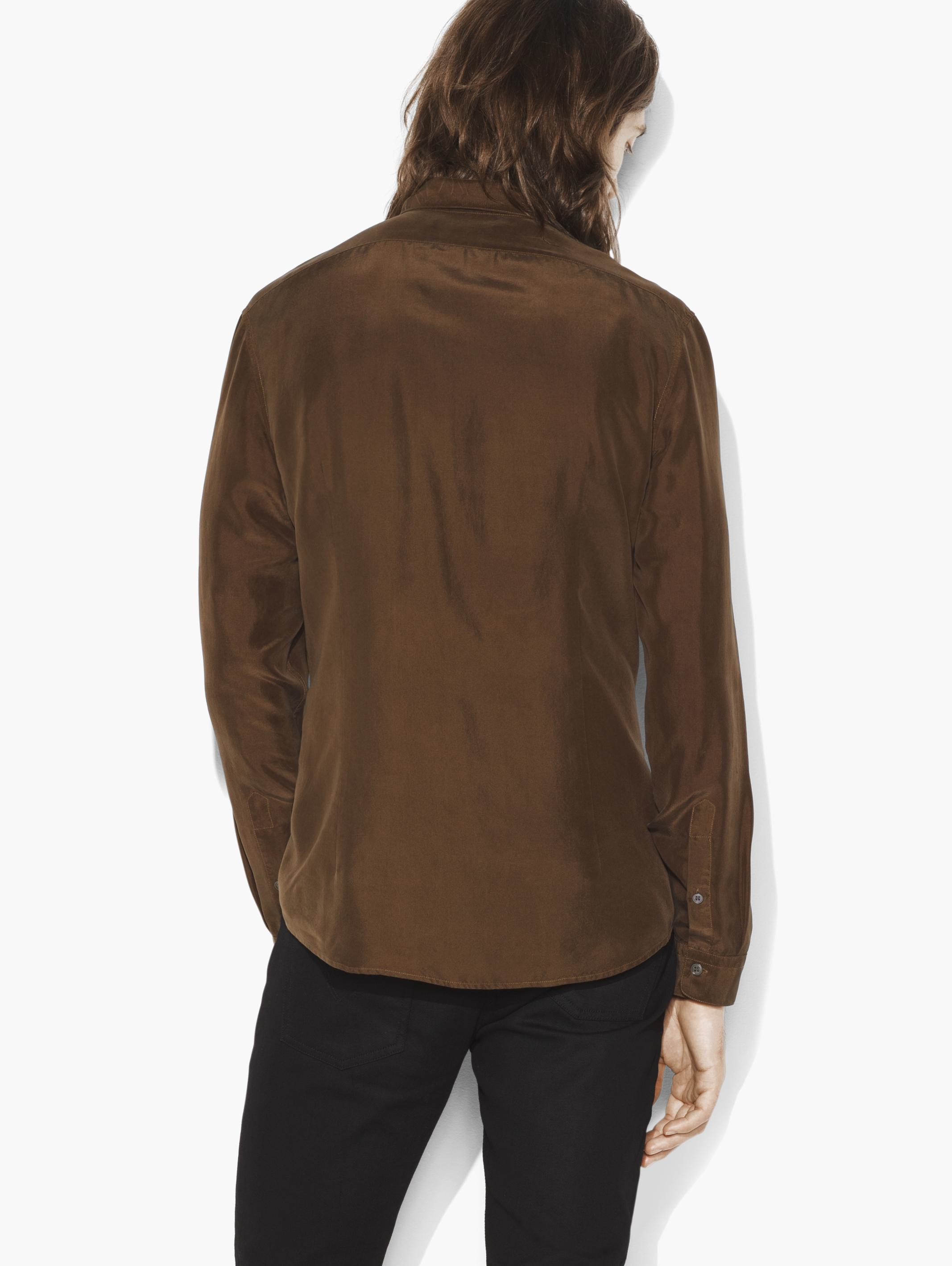 John Varvatos Silk Military Shirt in Copper (Brown) for Men