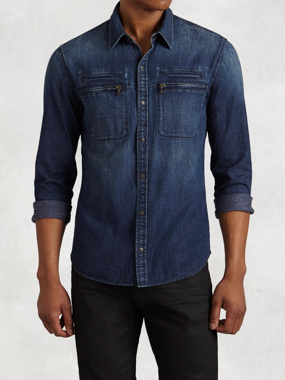 John varvatos denim work shirt in blue for men lyst for Mens denim work shirt