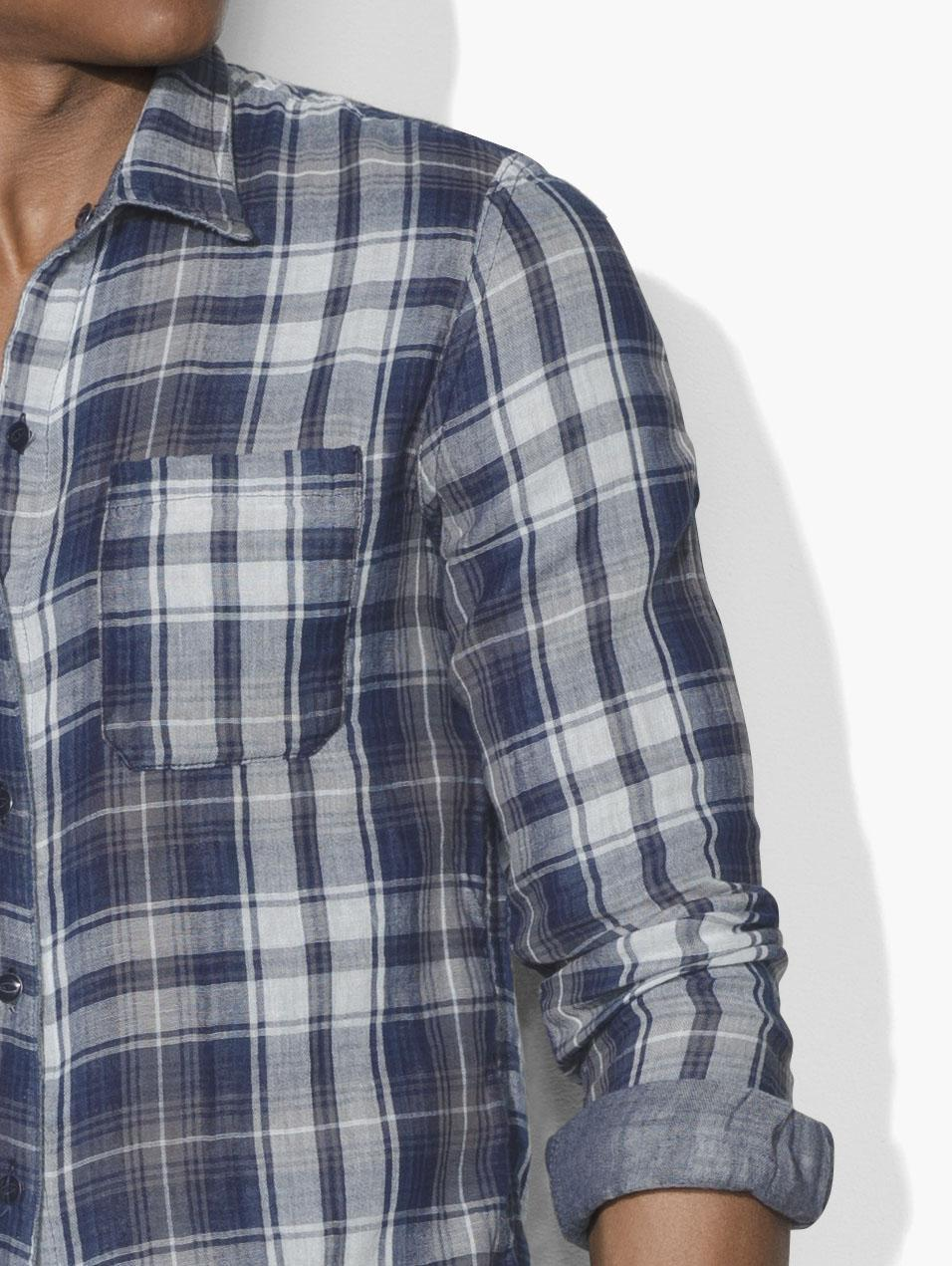 John Varvatos Cotton Reversible Plaid Shirt in Blue for Men