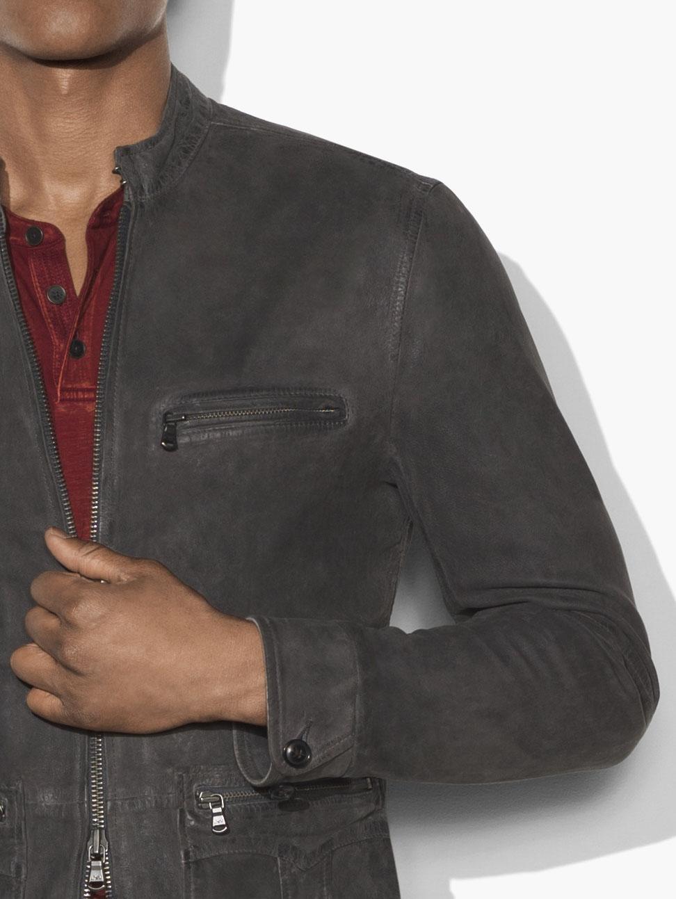 John Varvatos Suede Military Field Racer Jacket in Grey for Men