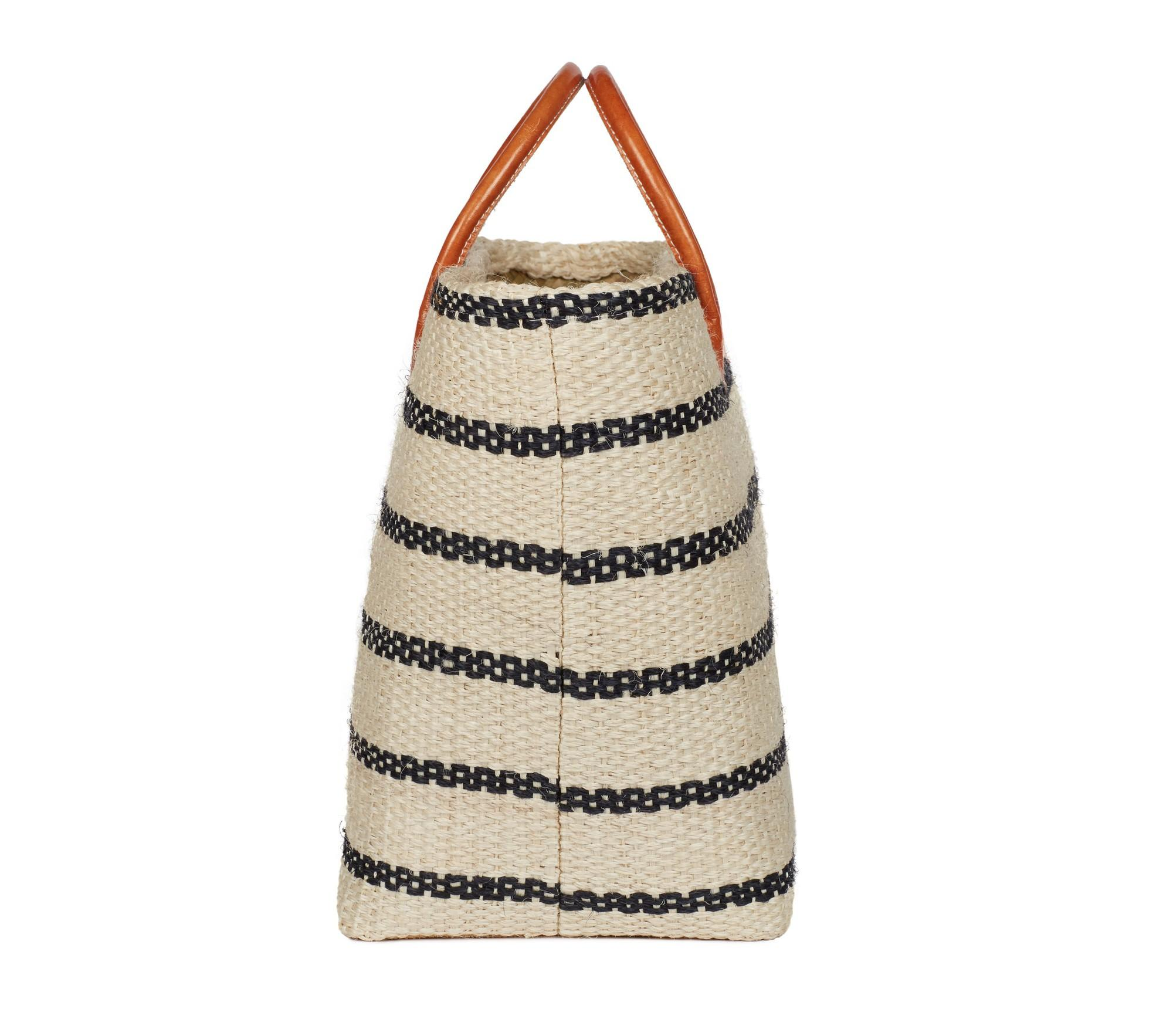 Joie Leather Provence Tote in Natural Black Stripe (Natural)