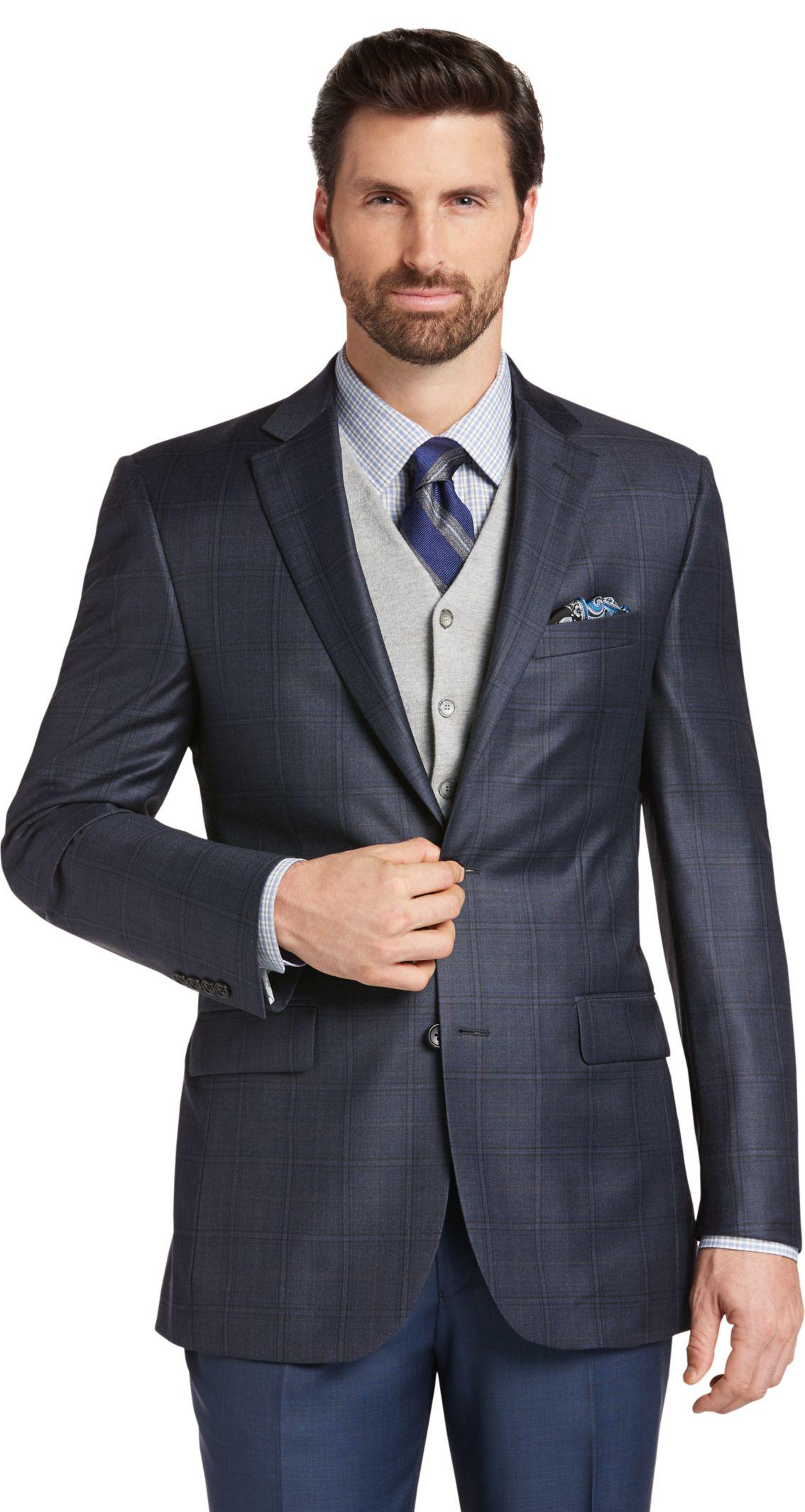 Lyst jos a bank reserve collection tailored fit plaid for Jos a bank tailored fit vs slim fit shirts