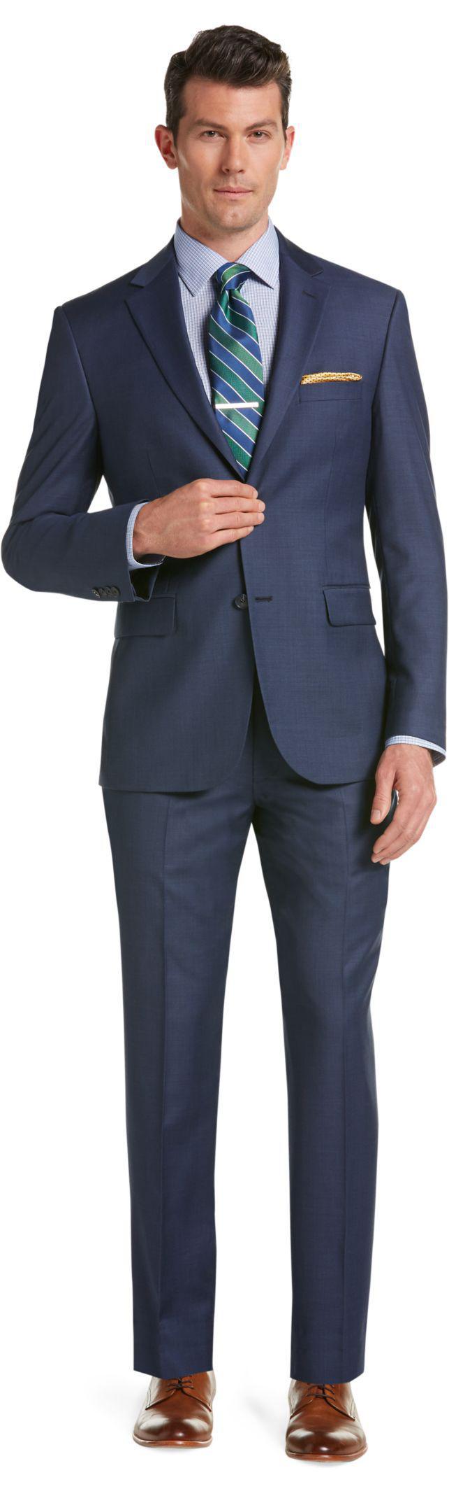 Lyst jos a bank traveler tailored 2 button plain front for Jos a bank tailored fit vs slim fit shirts