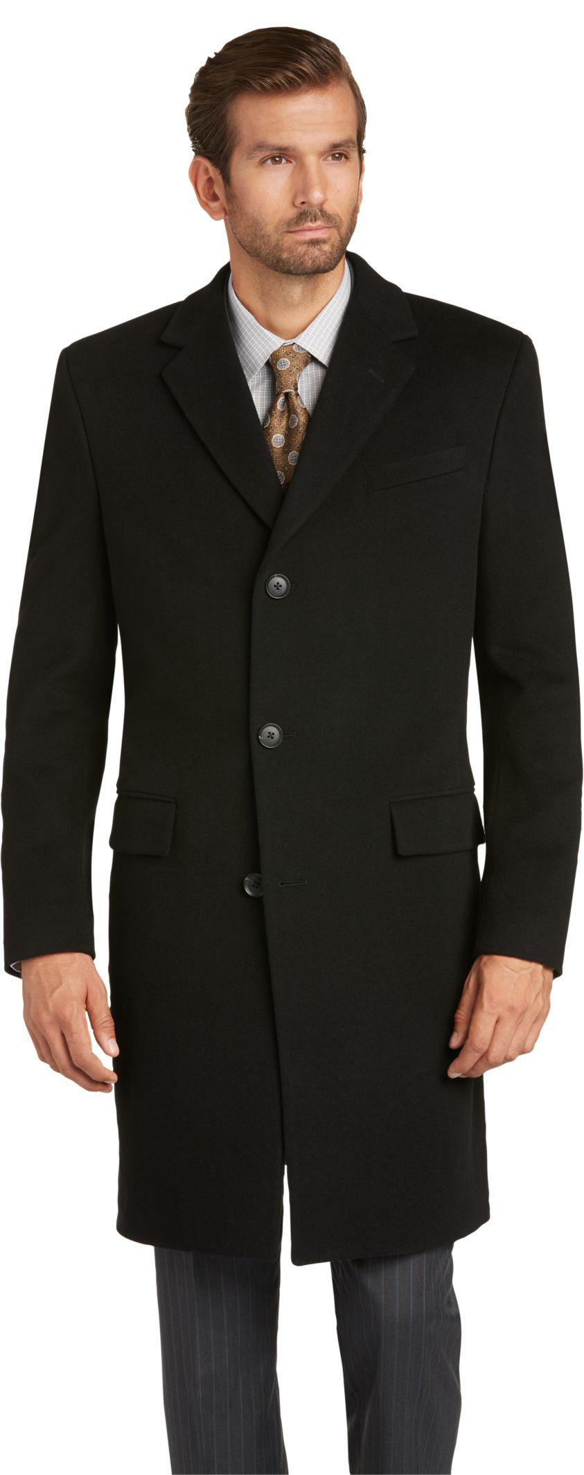 Jos a bank reserve collection slim fit topcoat in black for Jos a bank tailored fit vs slim fit shirts