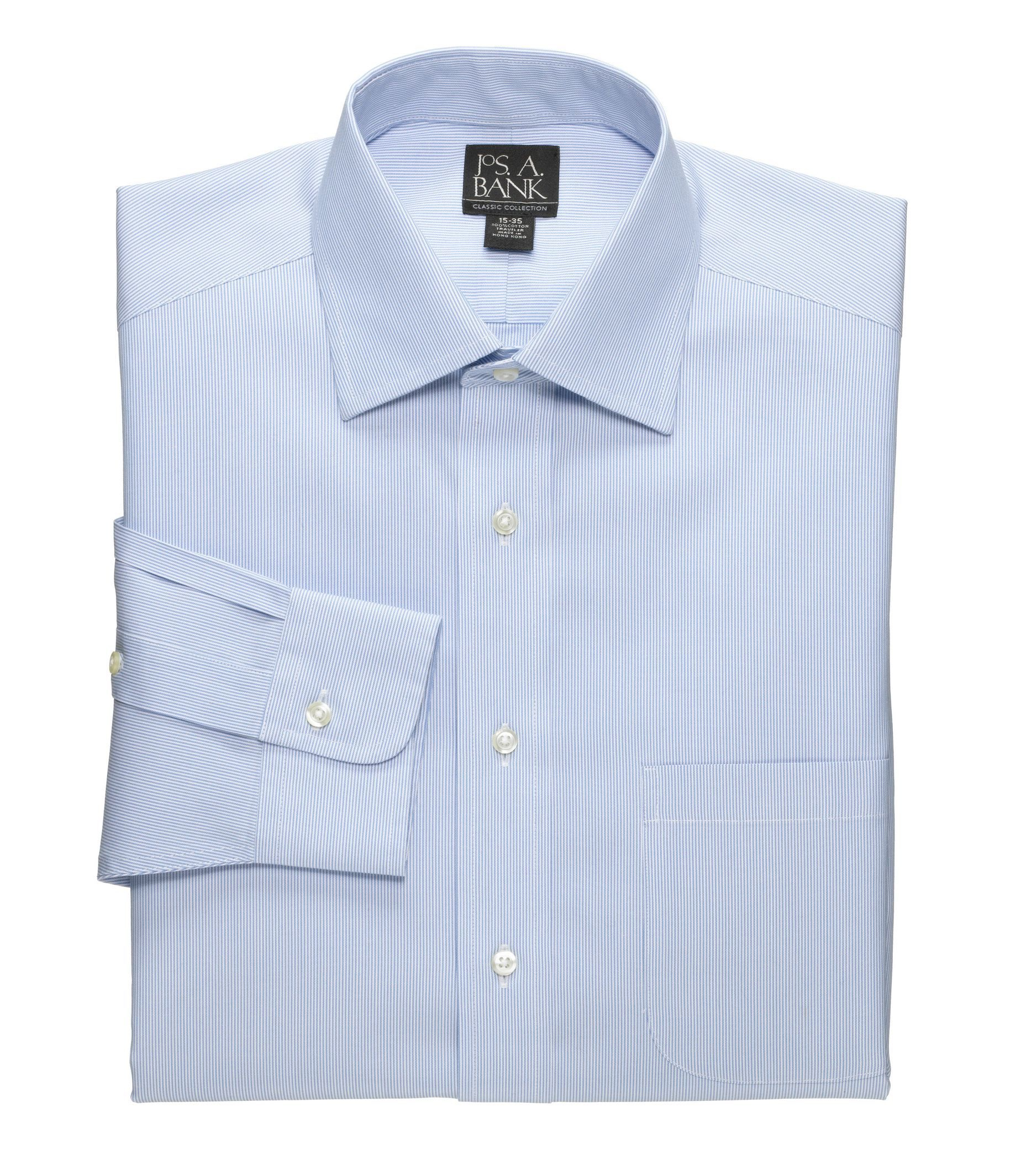 Lyst jos a bank classic collection non iron tailored for Spread collar dress shirt without tie