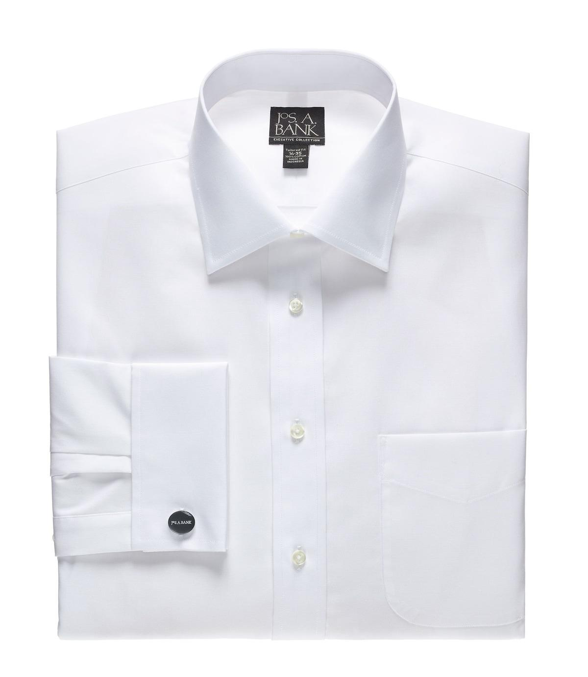 Jos a bank executive collection tailored fit spread for Mens white leather shirt