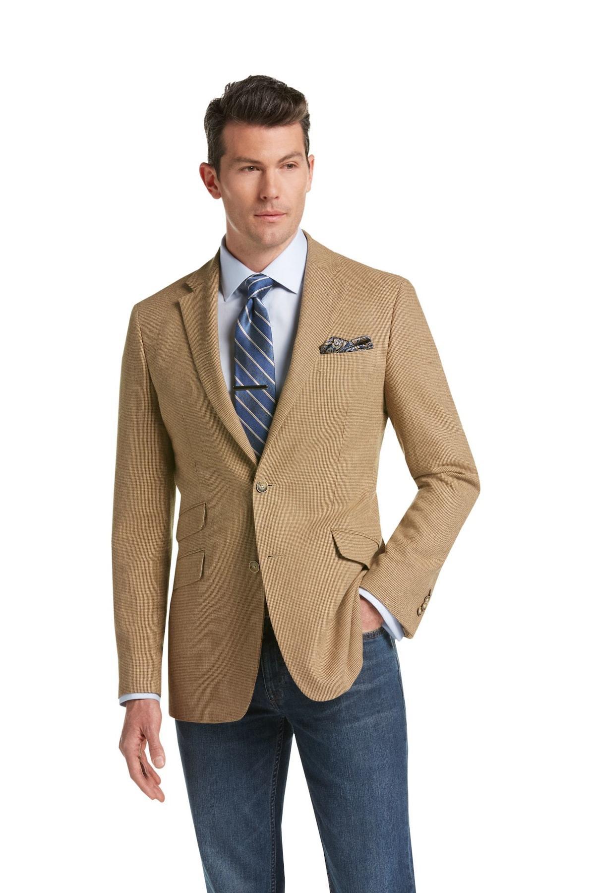Lyst jos a bank joseph abboud linen tan tic tailored for Jos a bank slim fit vs tailored fit shirts