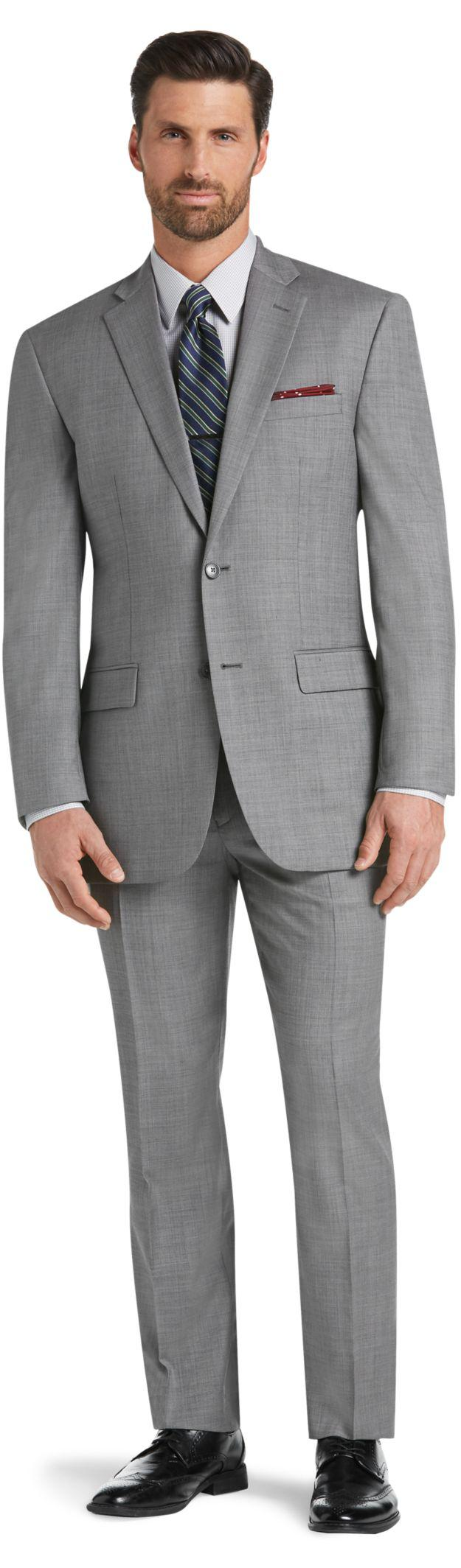 Jos. A. Bank Gray Traveler Collection Traditional Fit Sharkskin Suit for men