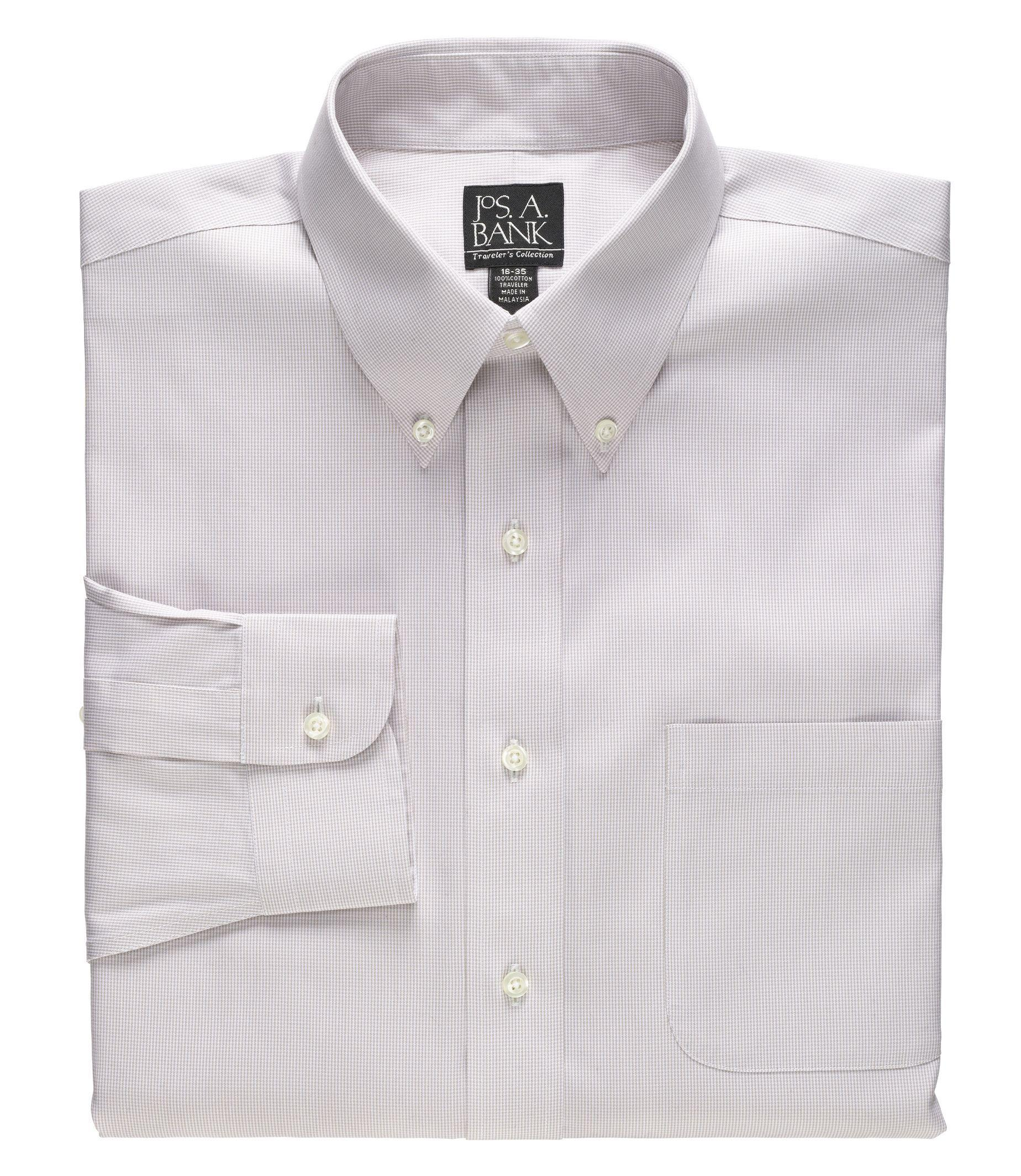 Jos a bank traveler collection traditional fit button for Tall collar dress shirts