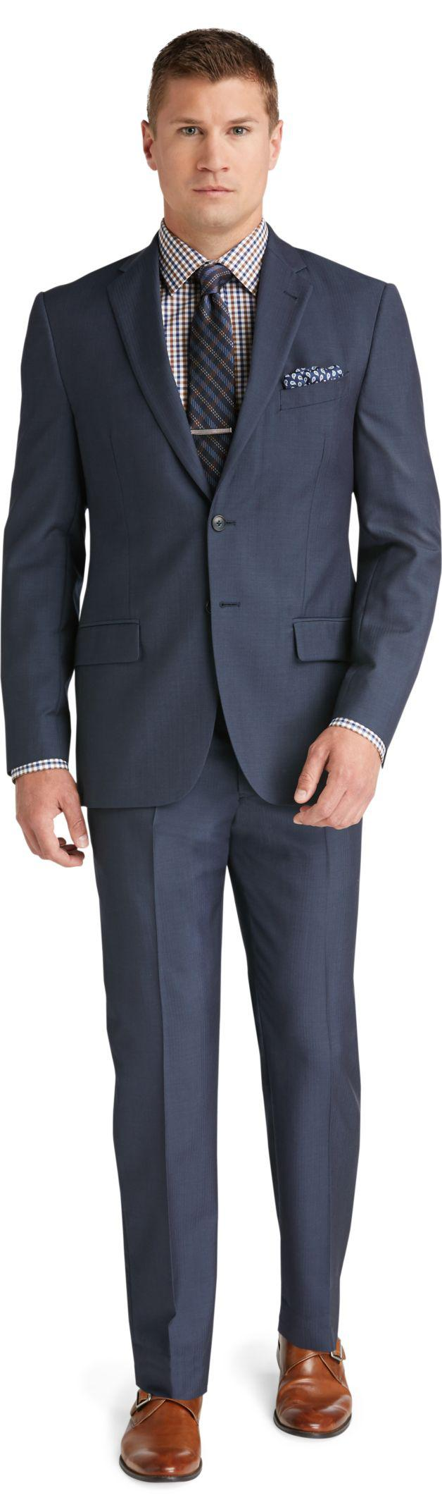 Lyst jos a bank reserve 2 button plain front slim fit for Jos a bank tailored fit vs slim fit shirts
