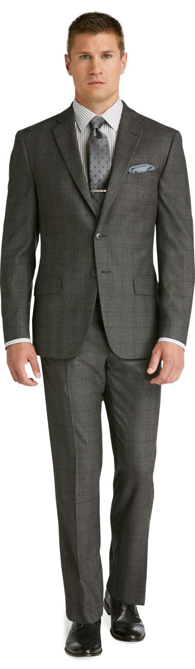 Jos a bank reserve 2 button plain front slim fit dark for Jos a bank slim fit vs tailored fit shirts