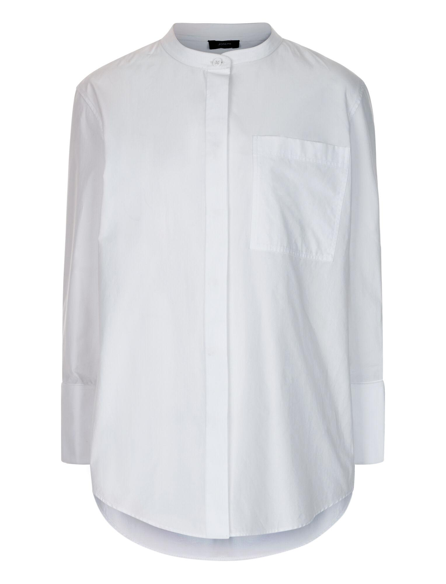 JOSEPH Cotton Callen Poplin Blouse in White