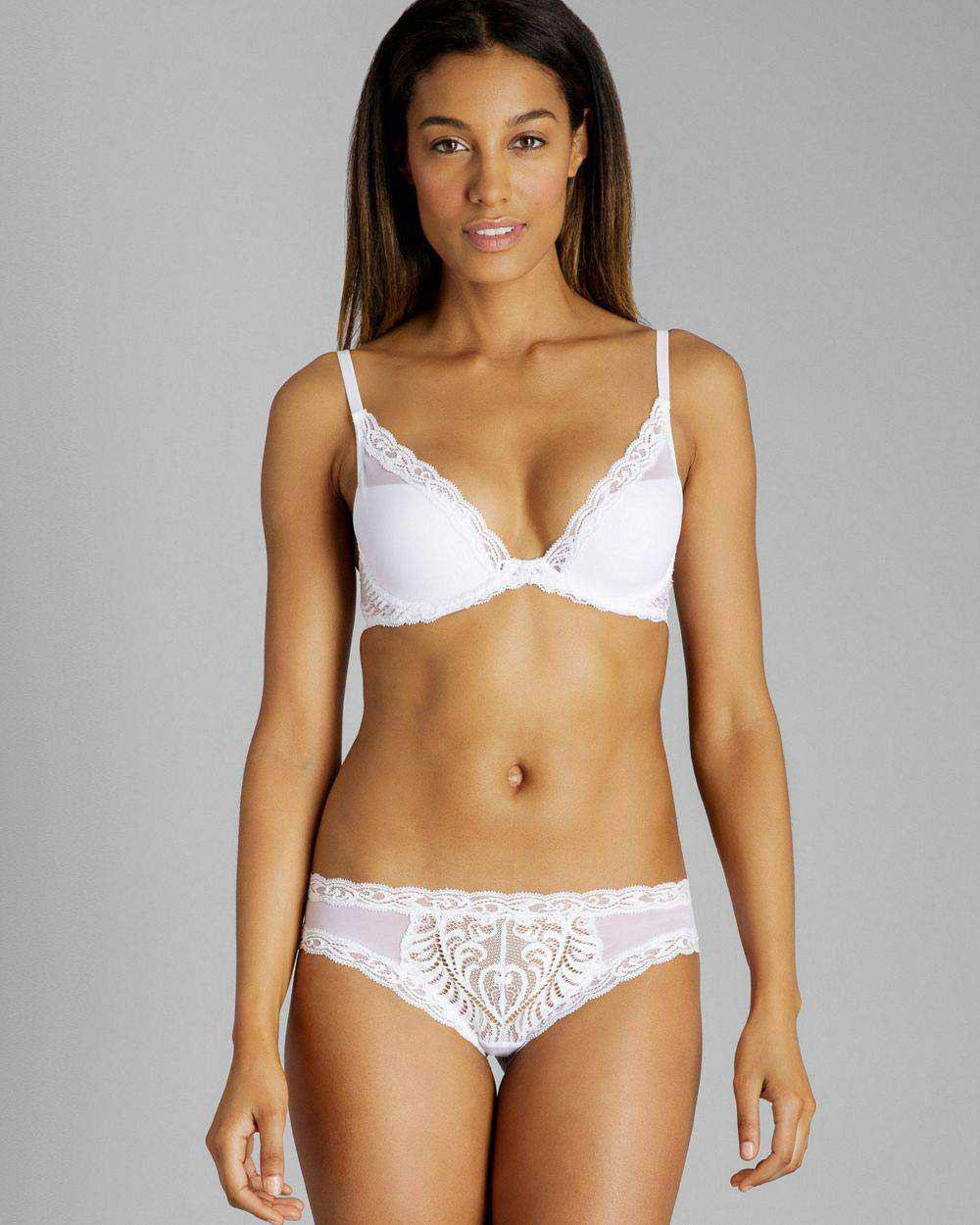 a593c22aa2 Lyst - Natori Feathers Contour Plunge Bra in White