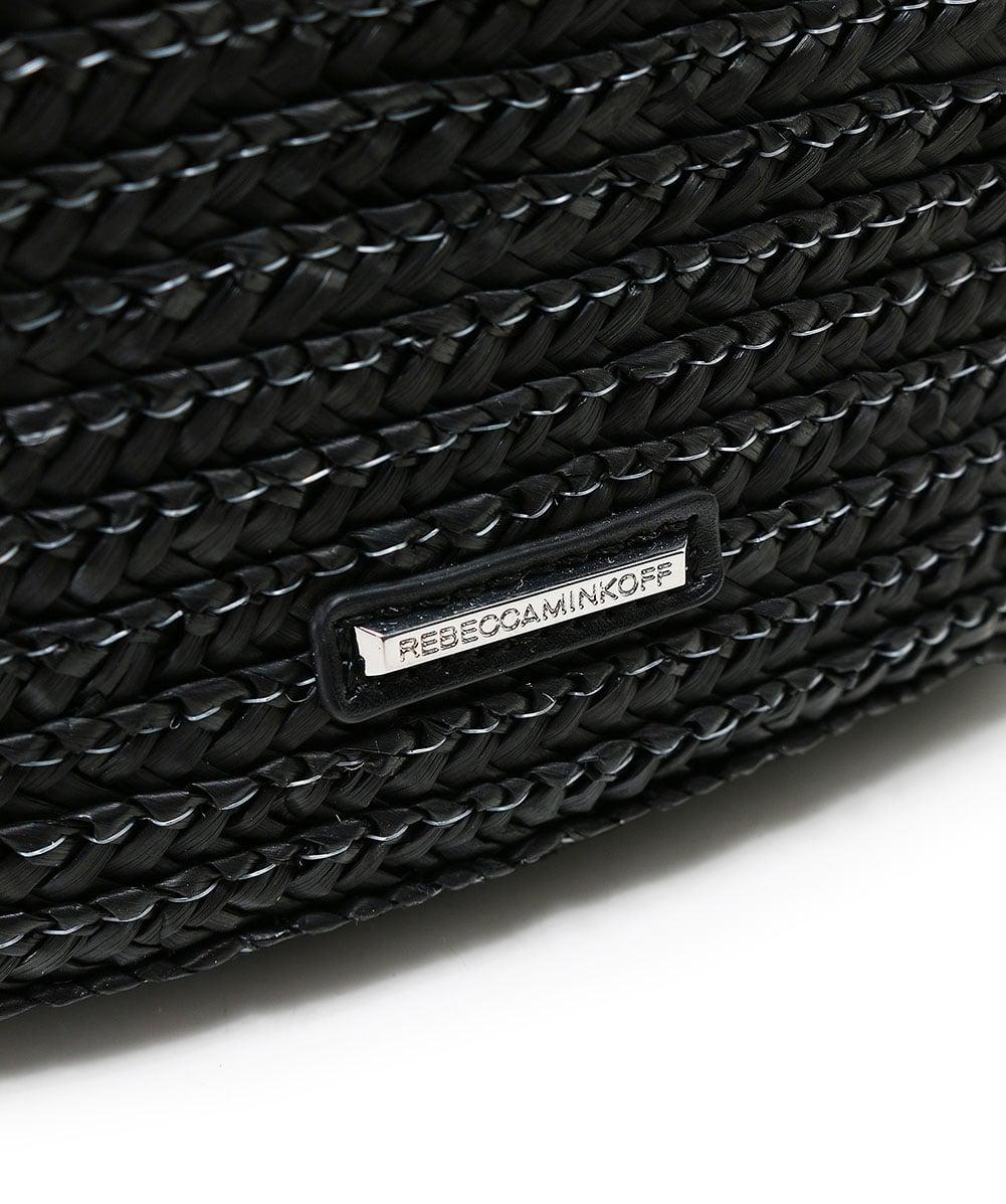 Rebecca Minkoff Leather Off Duty Straw Tote Bag in Black