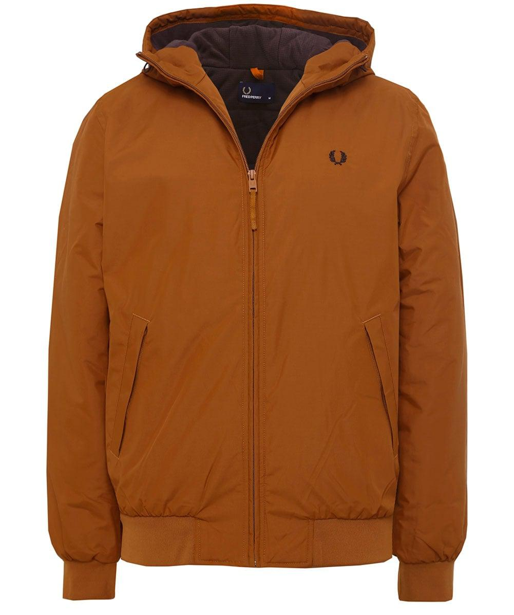 Fred Perry Synthetic Padded Hooded Brentham Jacket in Dark Caramel (Brown) for Men