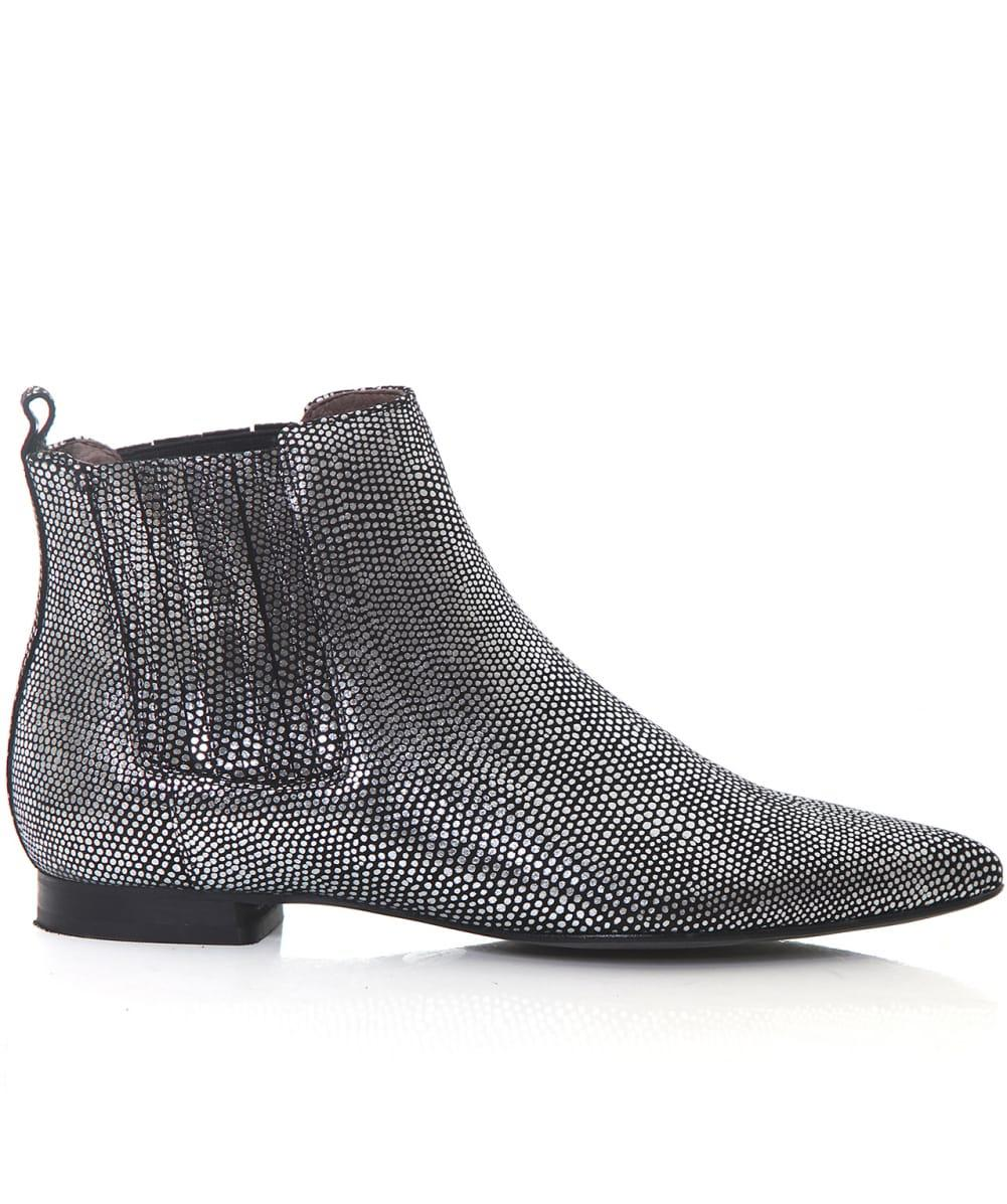 H by Hudson Leather Reine Lizard Chelsea Boots in Silver (Metallic)