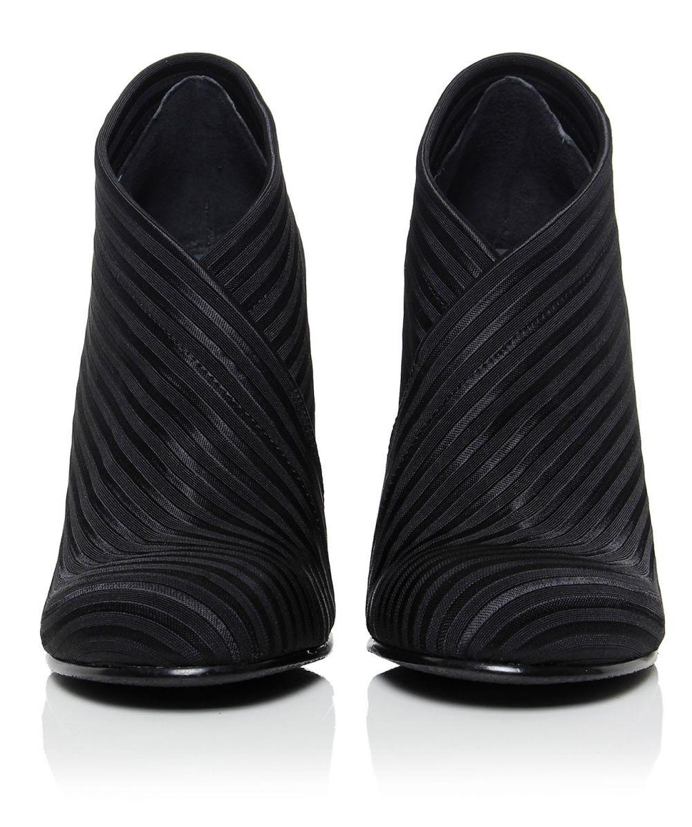 United Nude Satin Stripe Wrap Heeled Boots in Black