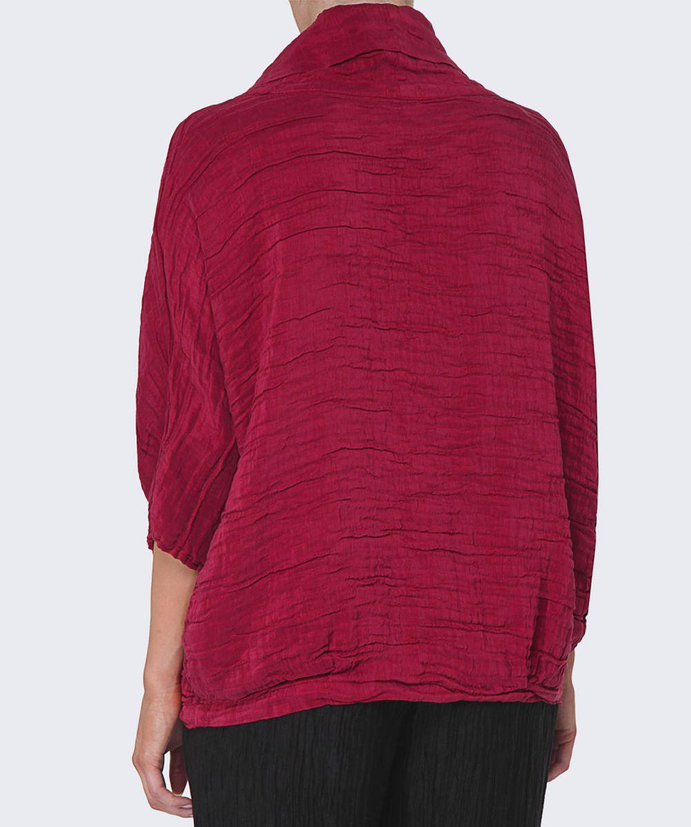 Grizas Linen Cowl Neck Waffle Top in Cherry (Red)
