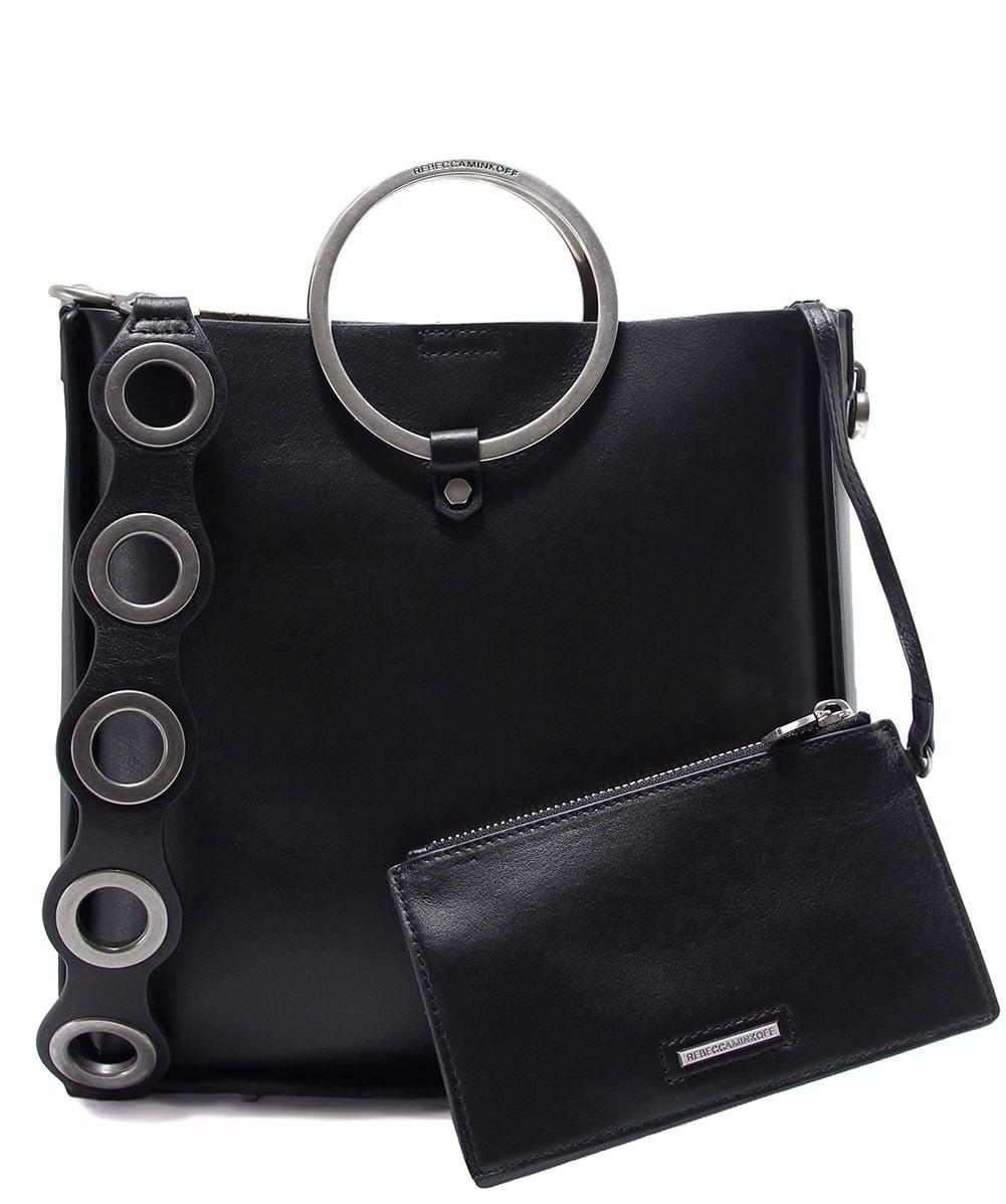 Rebecca Minkoff Leather Ring Feed Crossbody Bag in Black