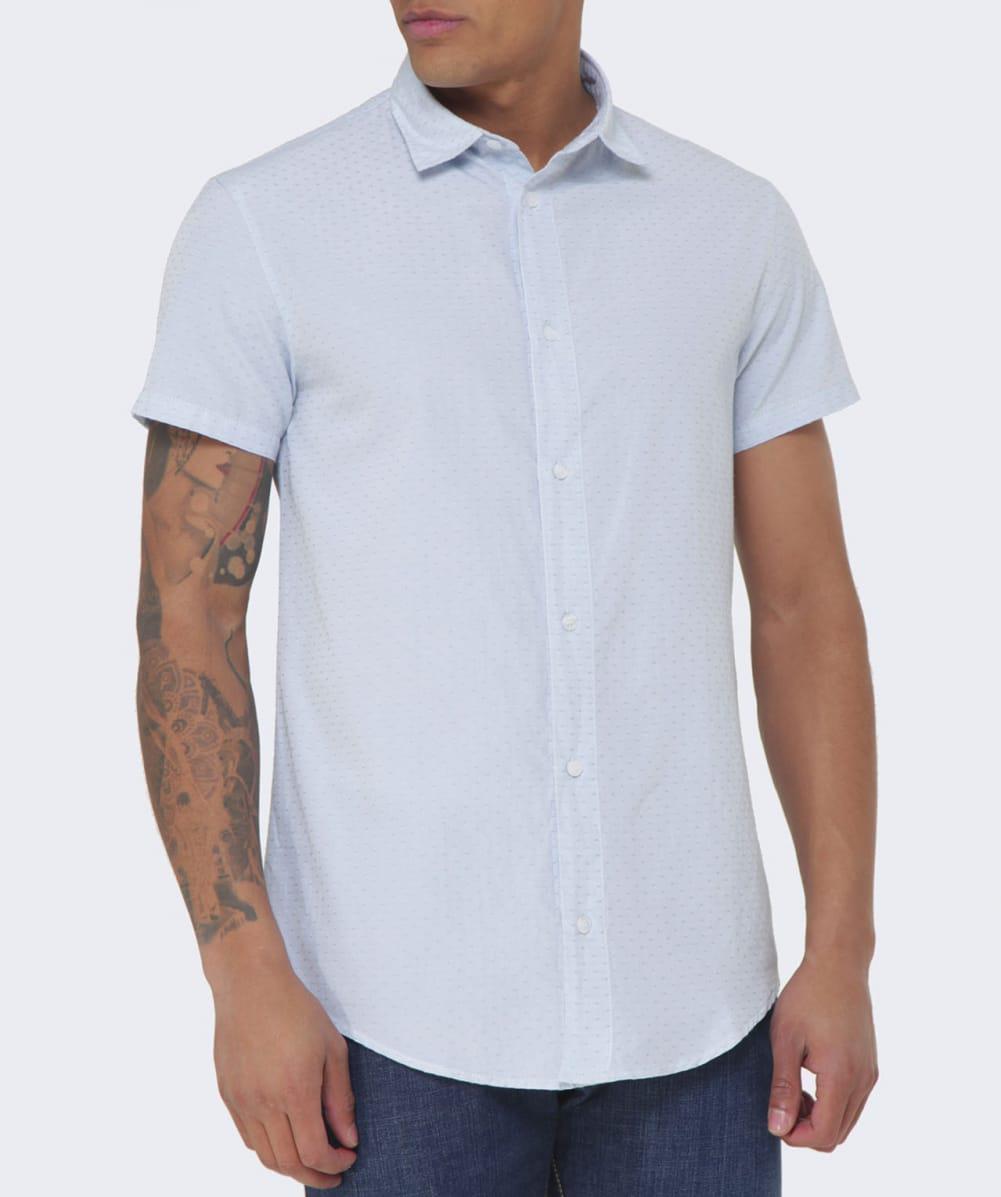 669436c6 Armani Jeans Short Sleeve Print Shirt Slim Fit In Blue