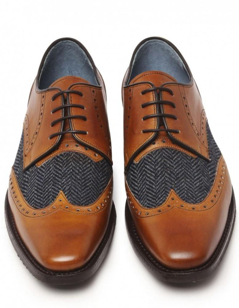 Jules B Leather & Tweed Derby Shoes in Tan (Brown) for Men