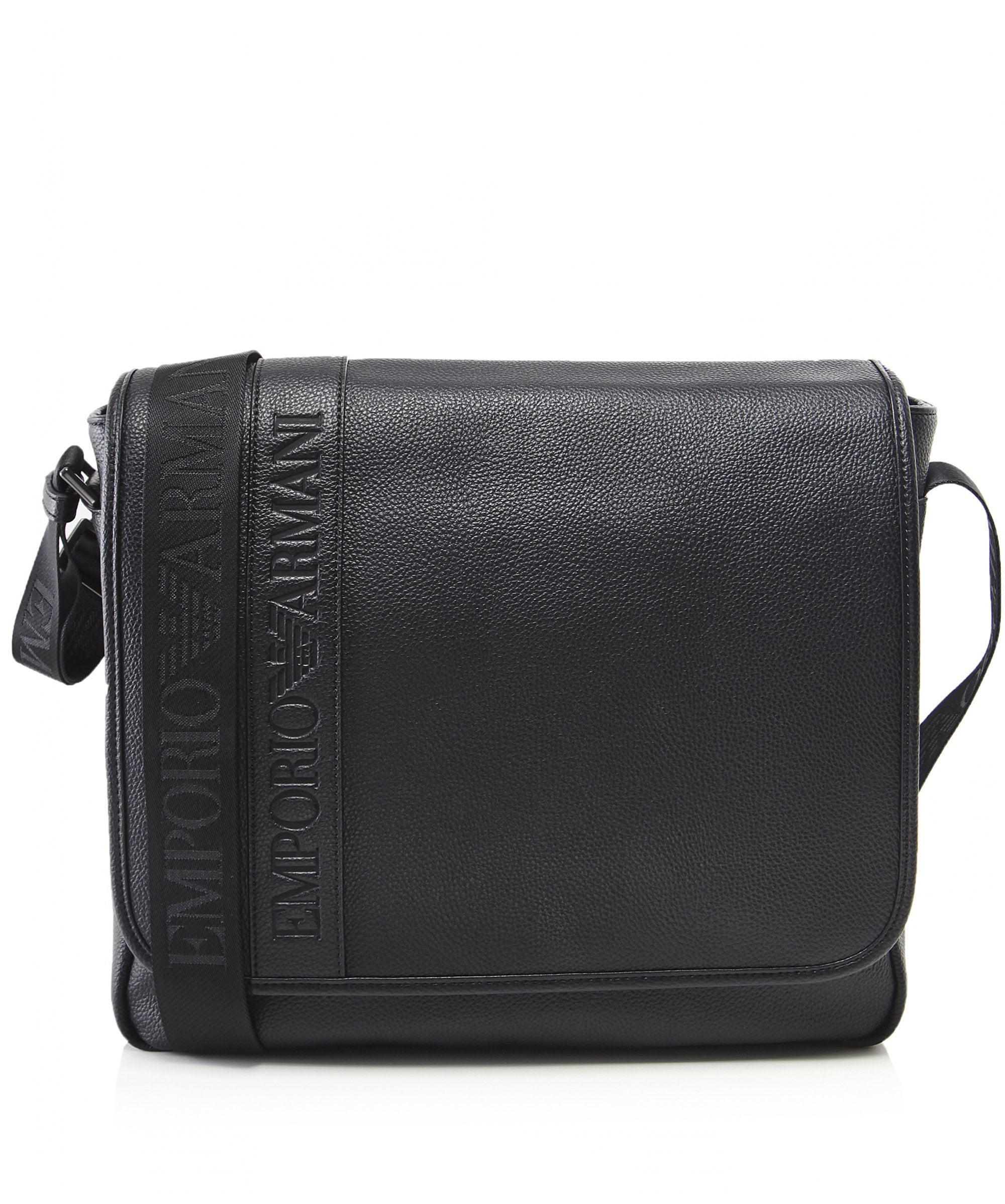 af5da71bb61 Armani Logo Messenger Bag in Black for Men - Lyst
