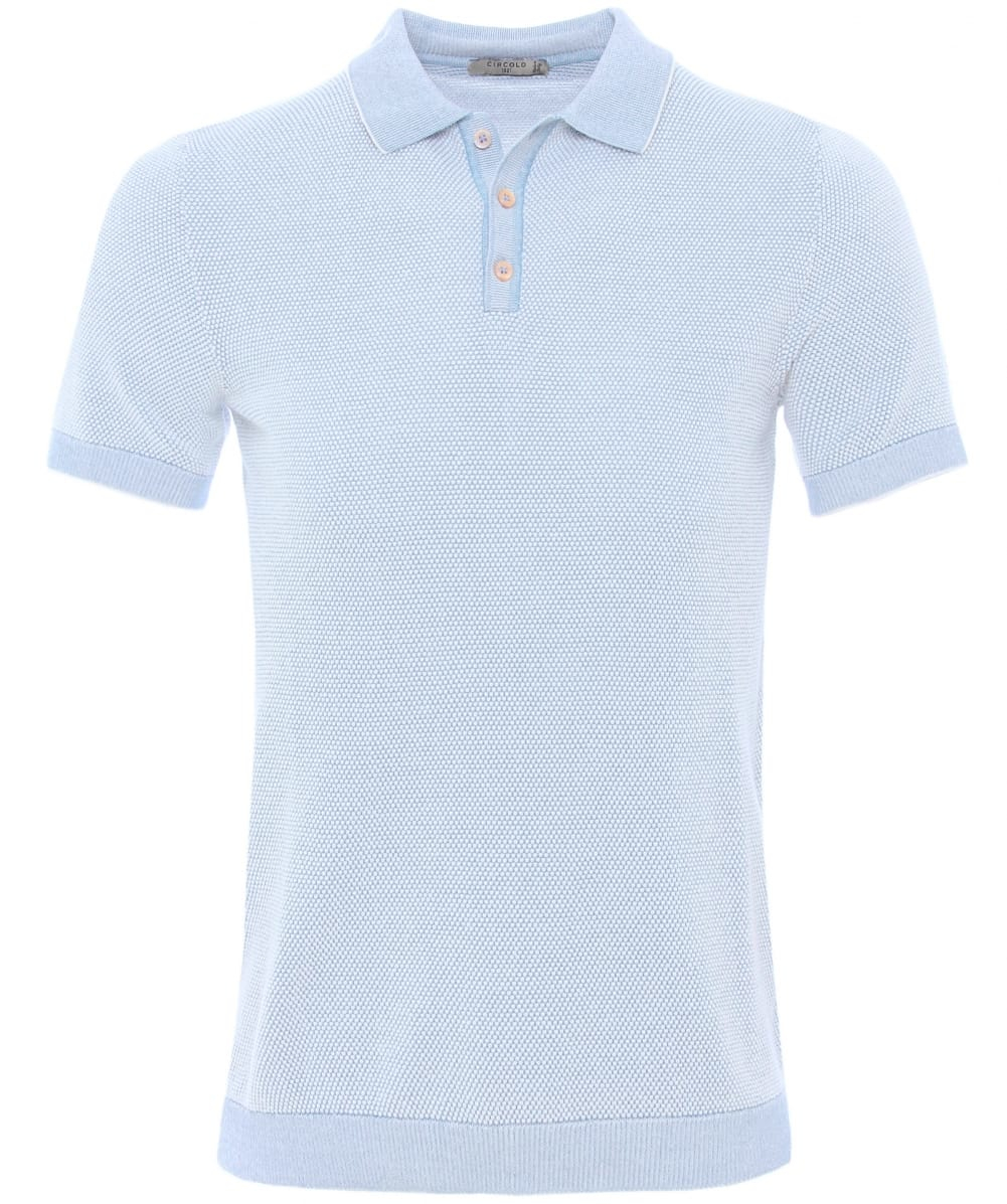 Circolo 1901 knitted cotton polo shirt in blue for men for Knitted polo shirt mens