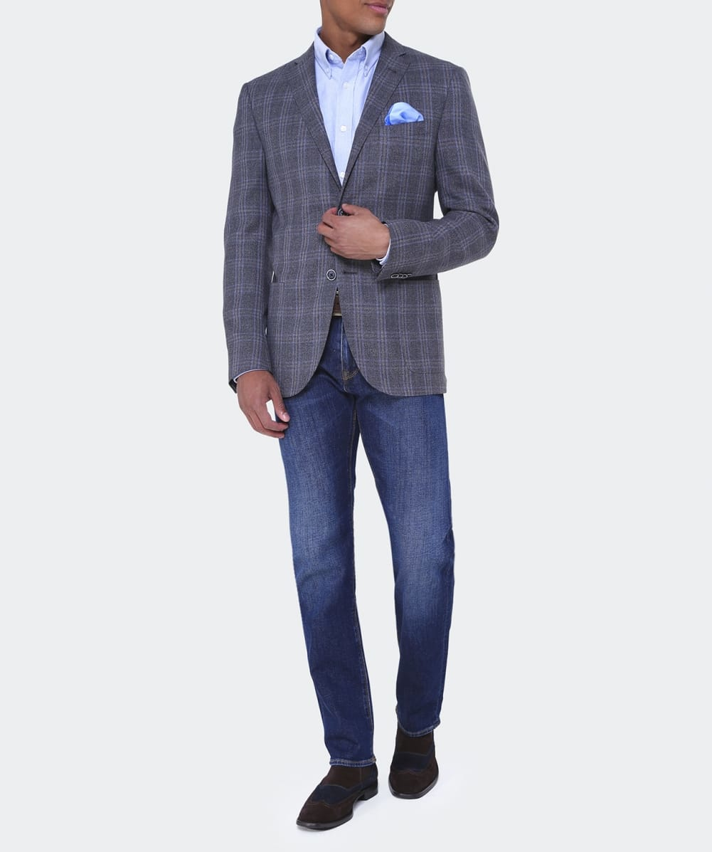 Lyst Corneliani Virgin Wool Check Jacket In Blue For Men