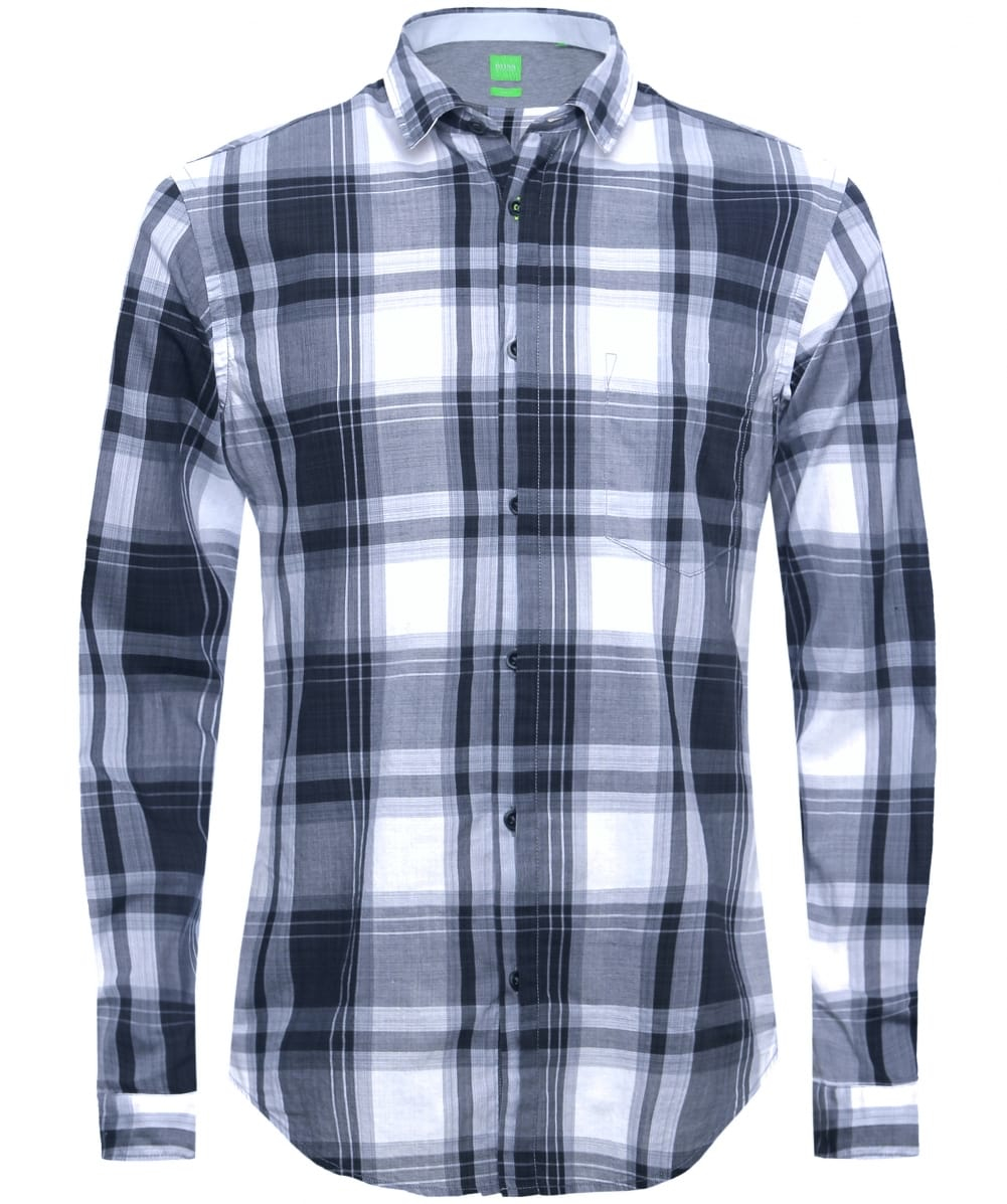 Lyst boss green slim fit check bydero shirt in black for men for Slim fit check shirt