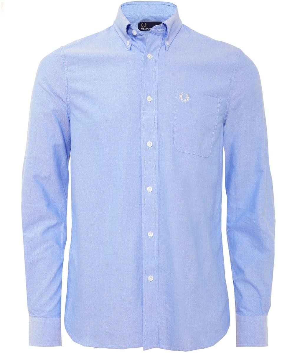 Fred perry classic oxford shirt in blue for men lyst for Mens blue oxford shirt