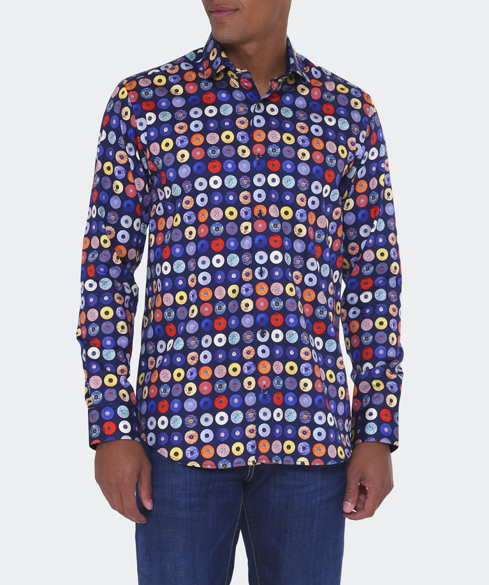 Guide London Cotton Record Print Sateen Shirt in Navy (Blue) for Men