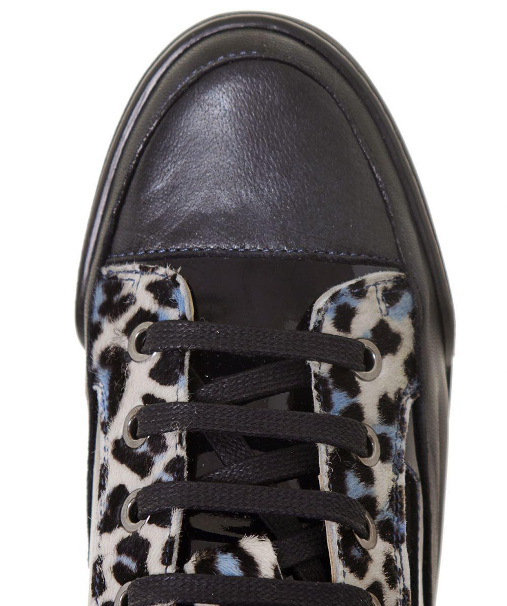 Candice Cooper Leather Manu 05 Leopard Print Trainers in Blue for Men