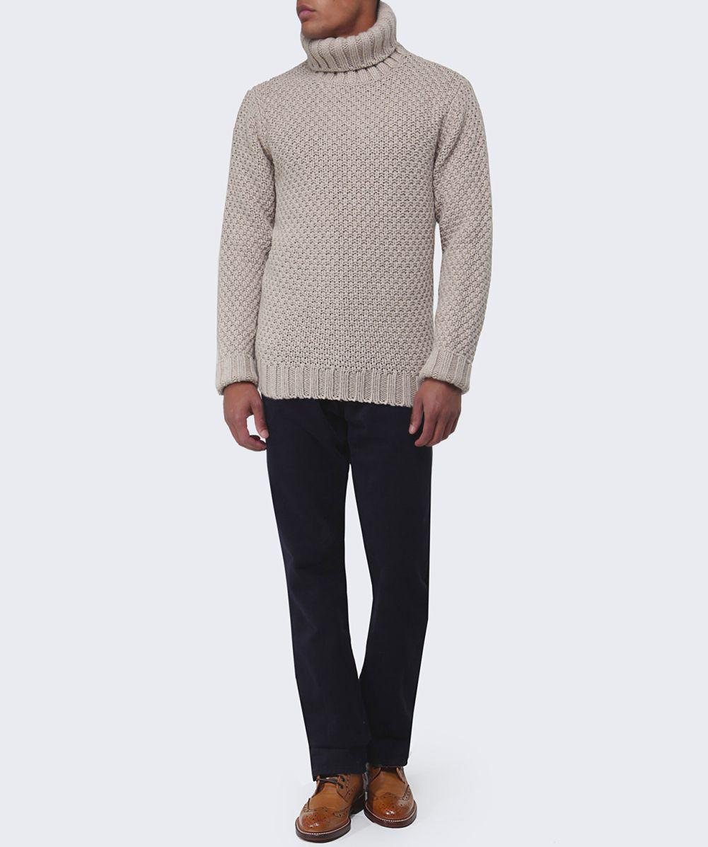 GANT Wool Chunky Basketknit Roll Neck Jumper in Beige (Natural) for Men