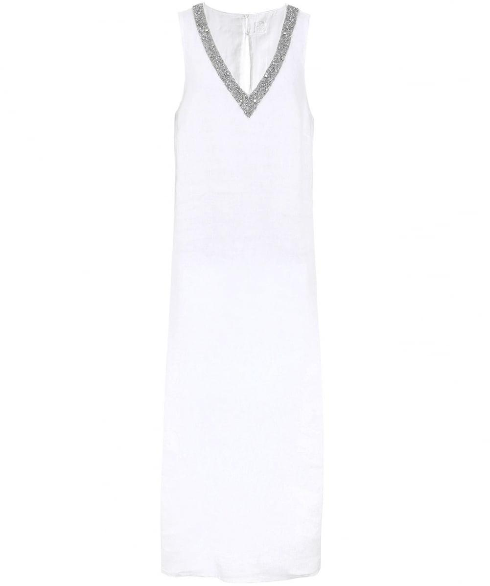 41380adba3 120% Lino Beaded V-neck Maxi Dress in White - Lyst