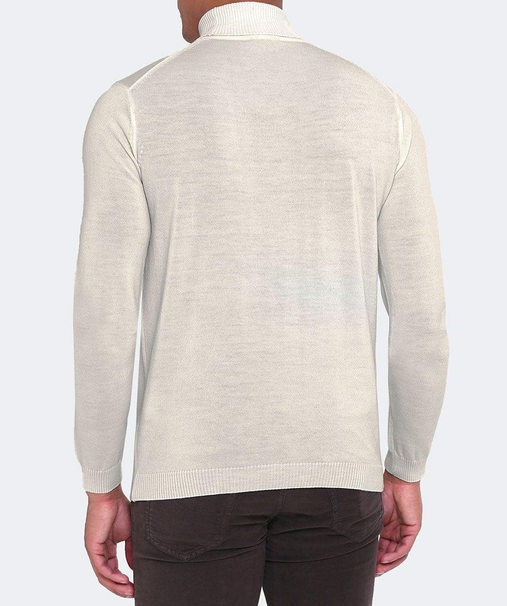 Stenstroms Extrafine Merino Wool Roll Neck Jumper in Cream (Natural) for Men